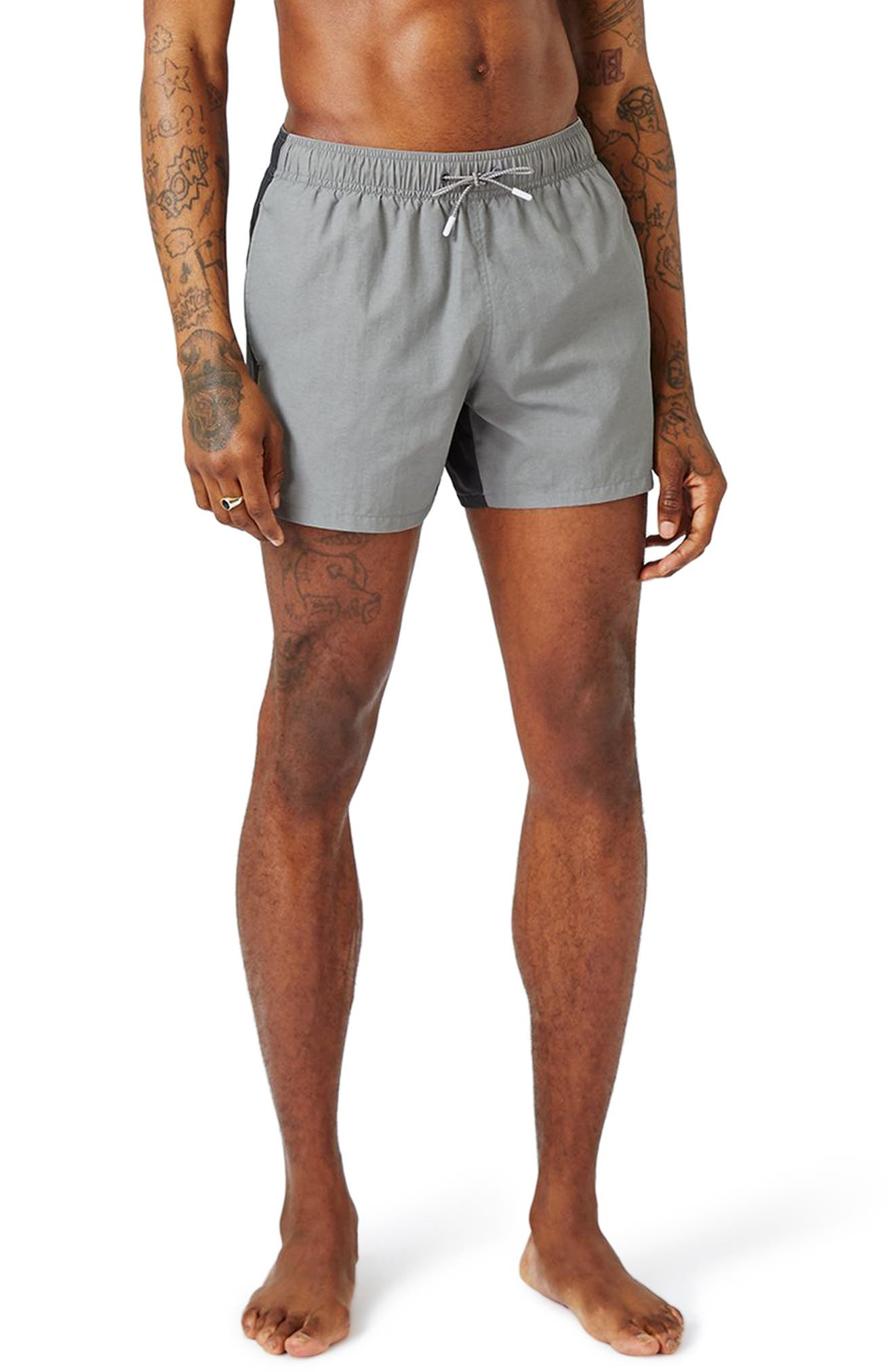 Topman Spliced Colorblock Swim Trunks