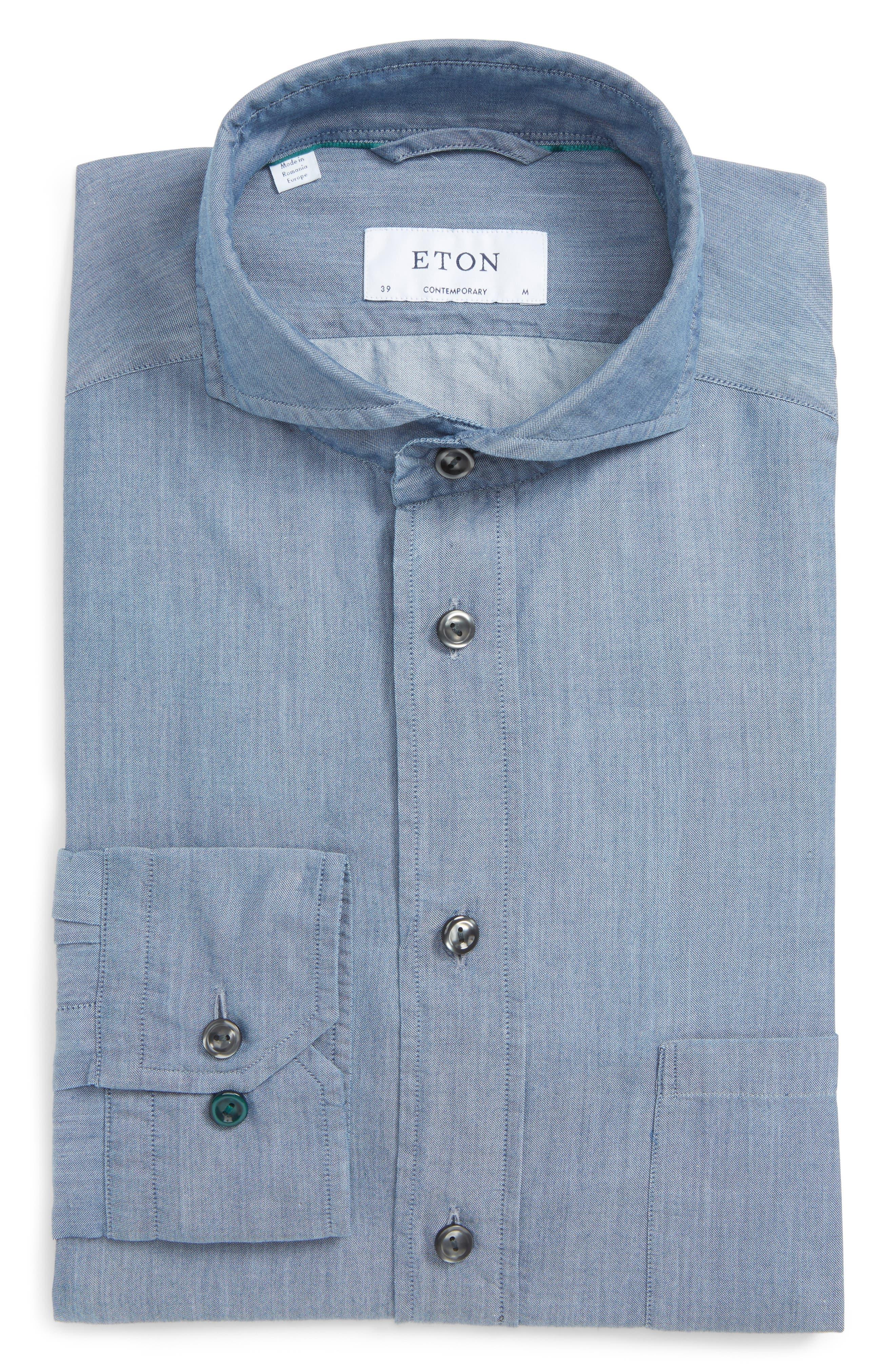 Eton Contemporary Fit Chambray Dress Shirt