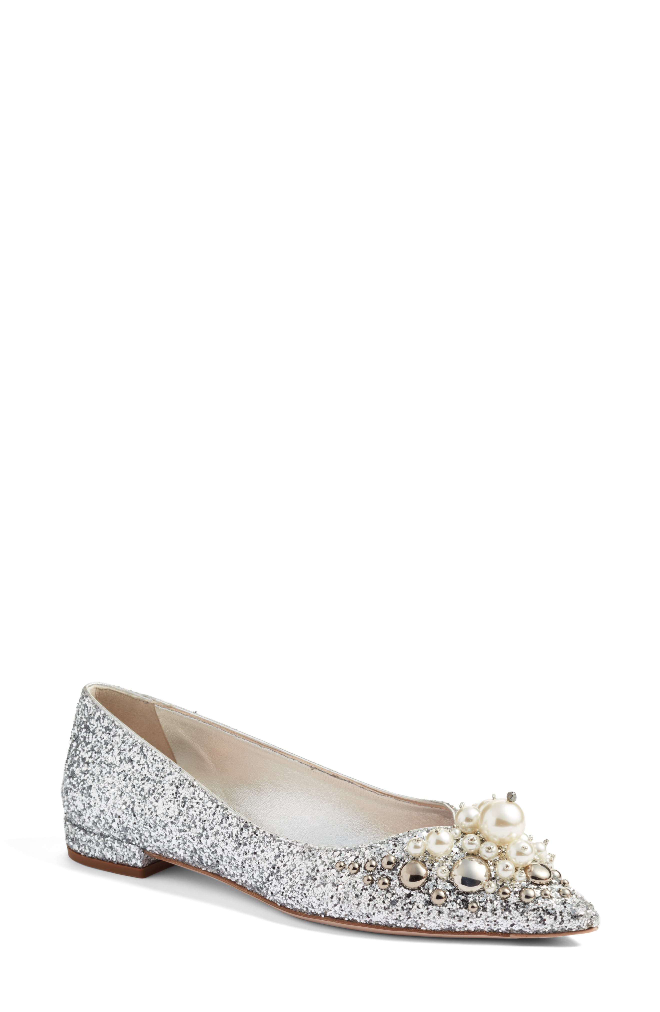 Miu Miu Embellished Pointy Toe Flat (Women)
