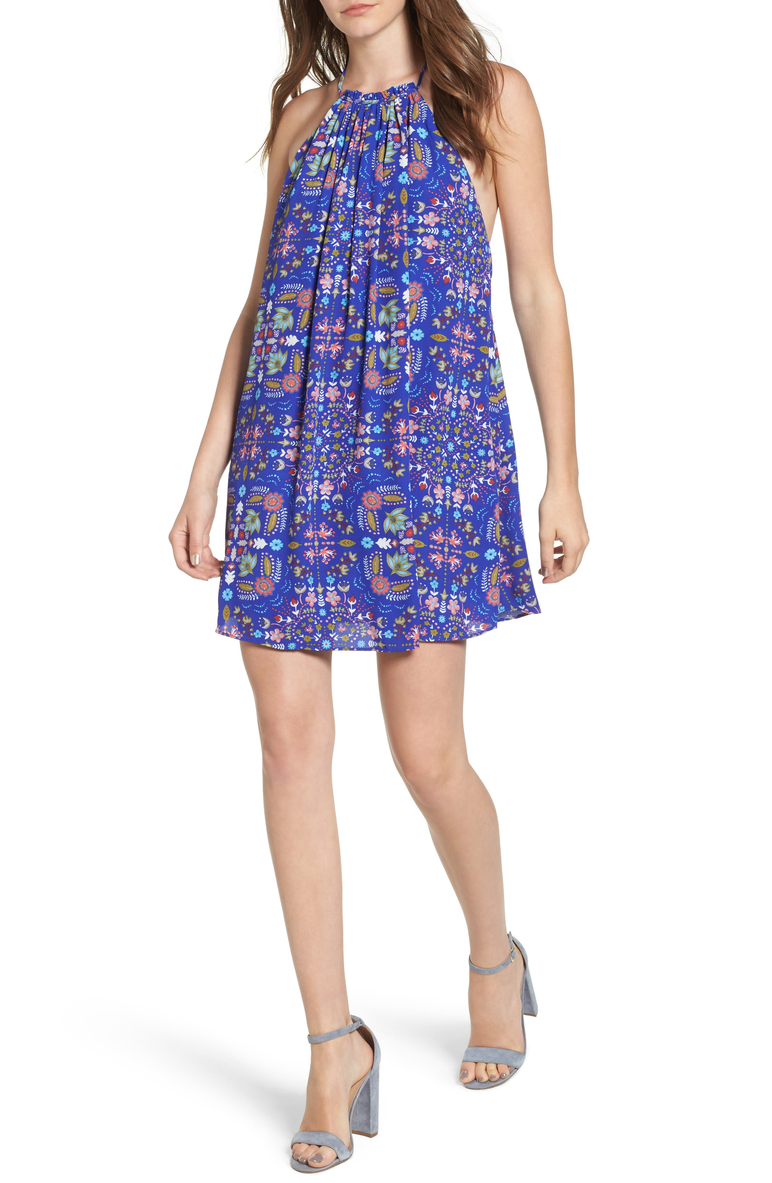 Everly Print High Neck Swing Dress