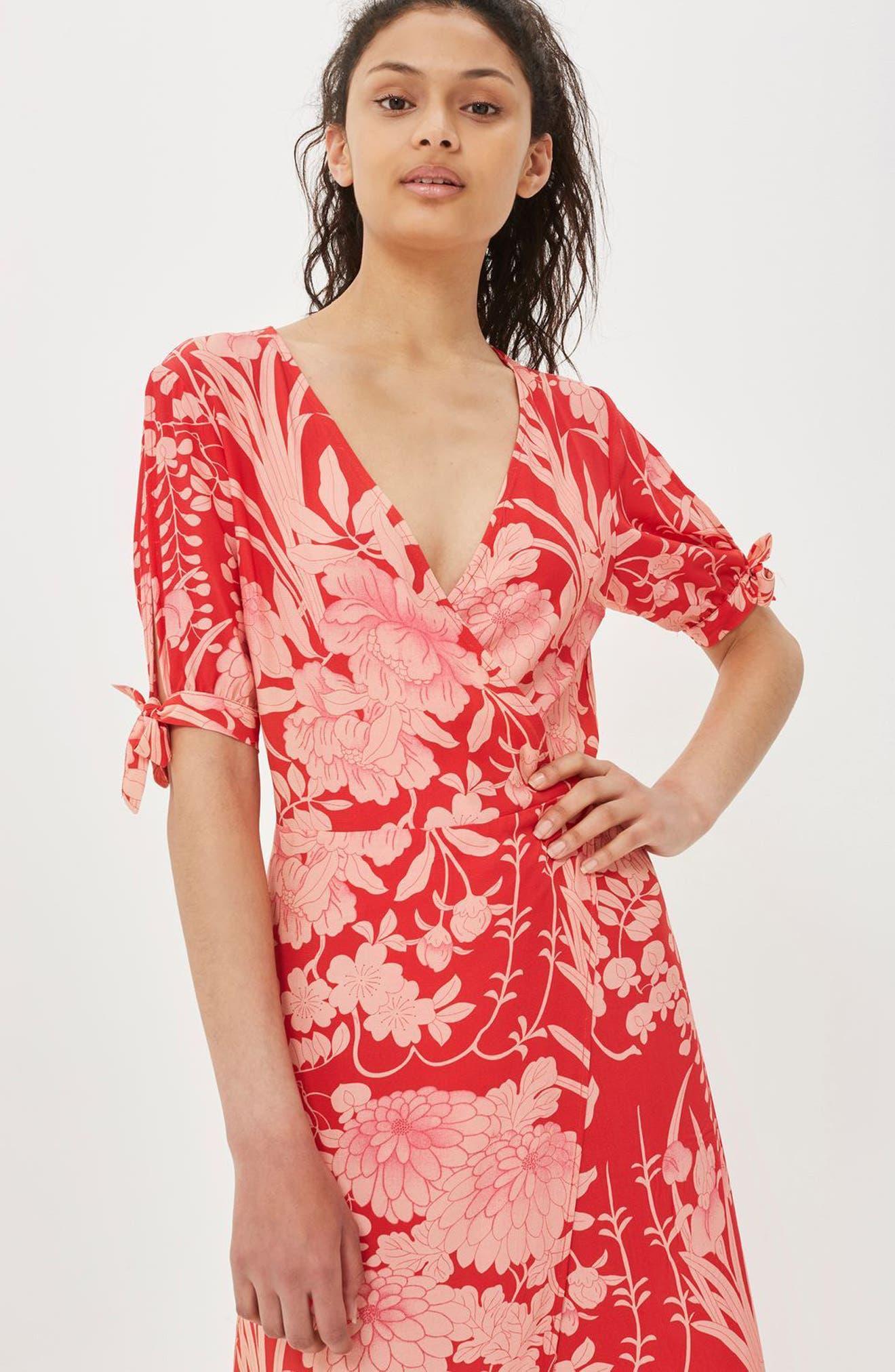 Alternate Image 2  - Topshop Floral Tie Sleeve Wrap Midi Dress
