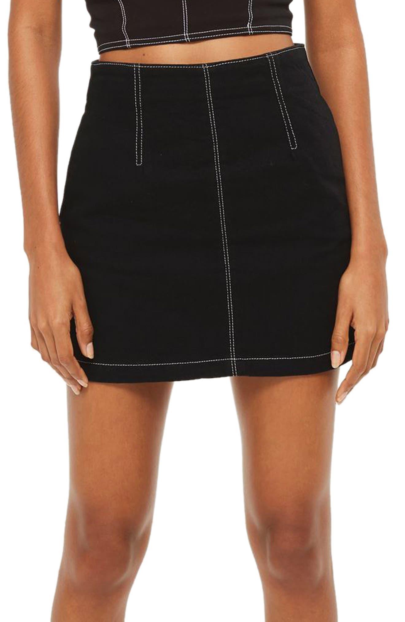 Main Image - Topshop Contrast Stitch Denim Skirt