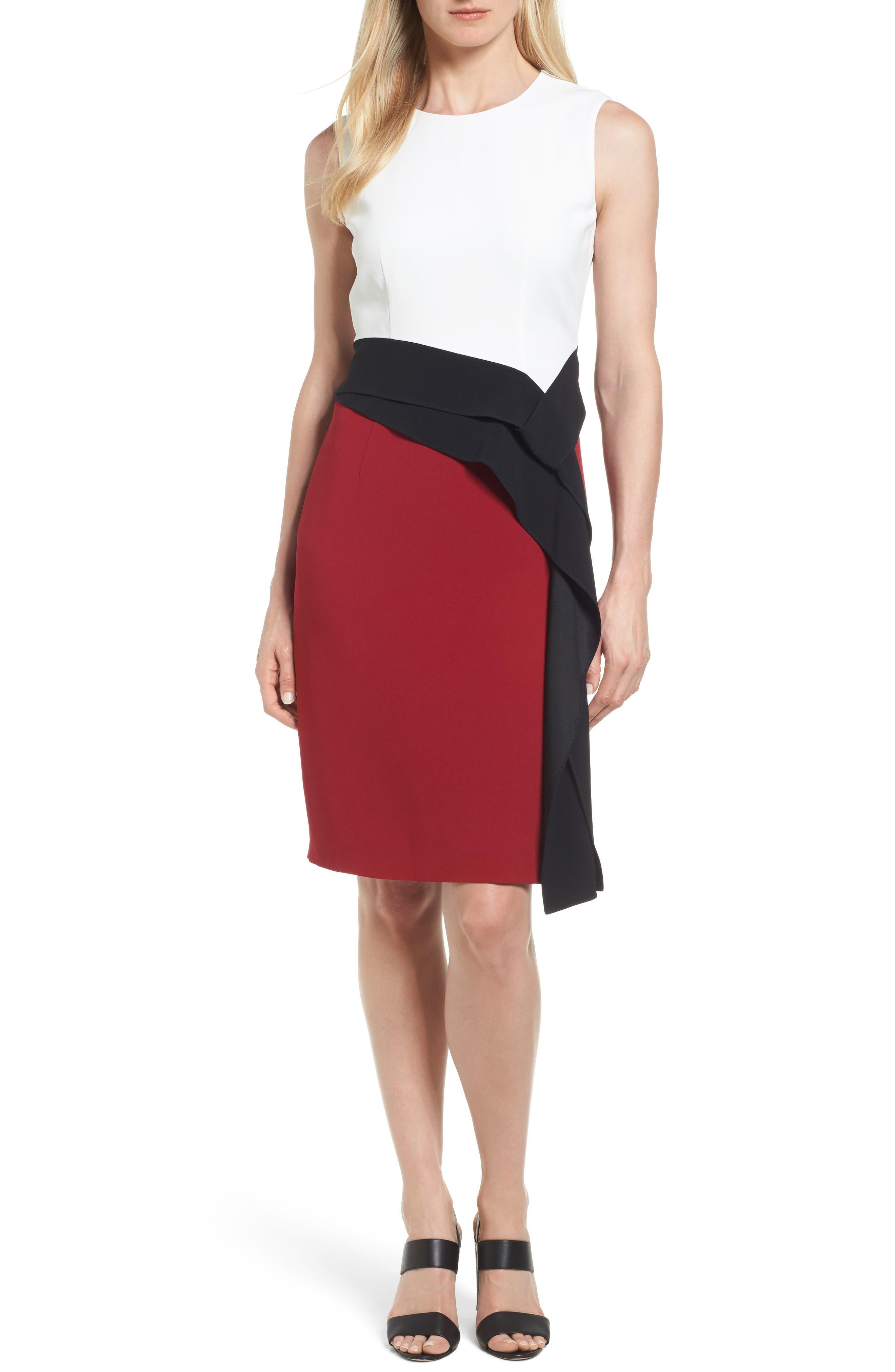 BOSS Disalana Color Block Sheath Dress