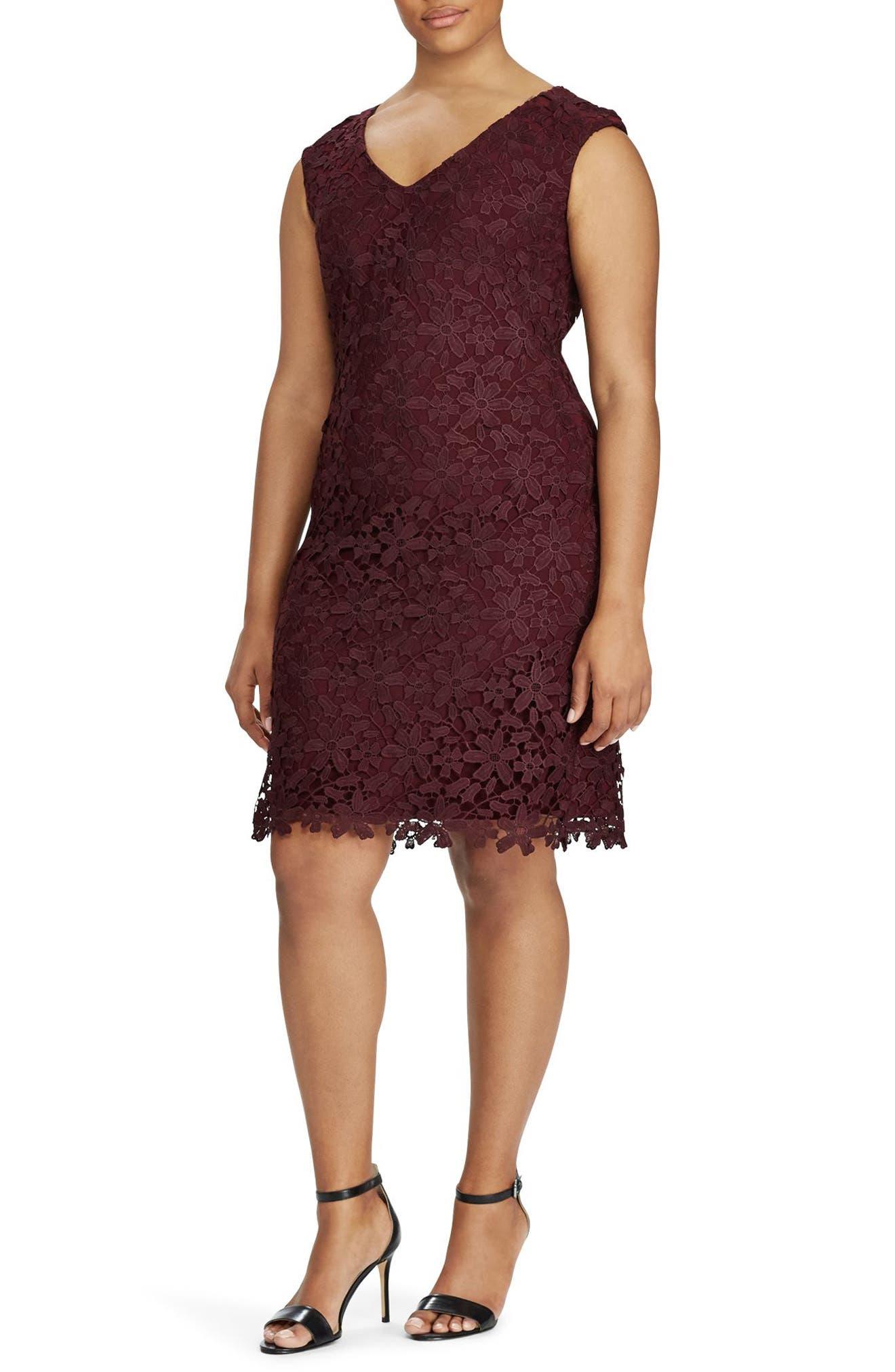 Lauren Ralph Lauren Montie Floral Lace Sheath Dress (Plus Size)