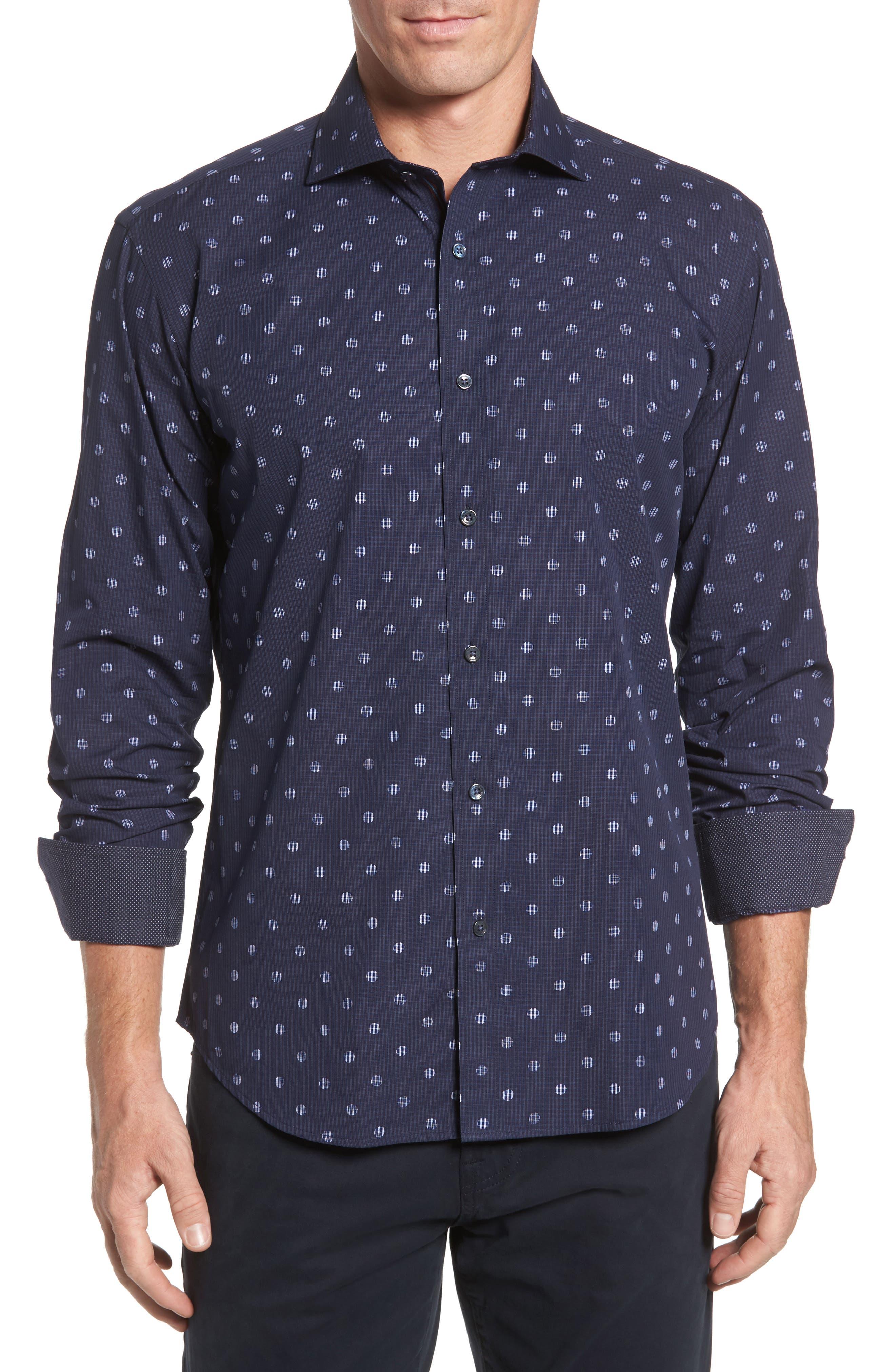 Bugatchi Shaped Fit Dot Check Sport Shirt
