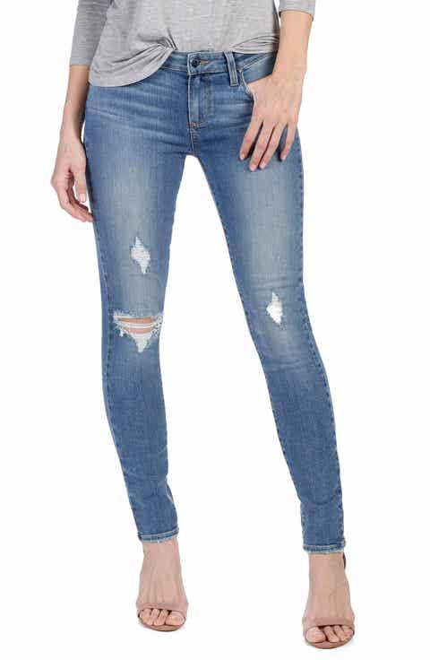 PAIGE Transcend - Verdugo Ultra Skinny Jeans (Sienna Destructed) - Light Blue Wash Skinny Jeans For Women Nordstrom