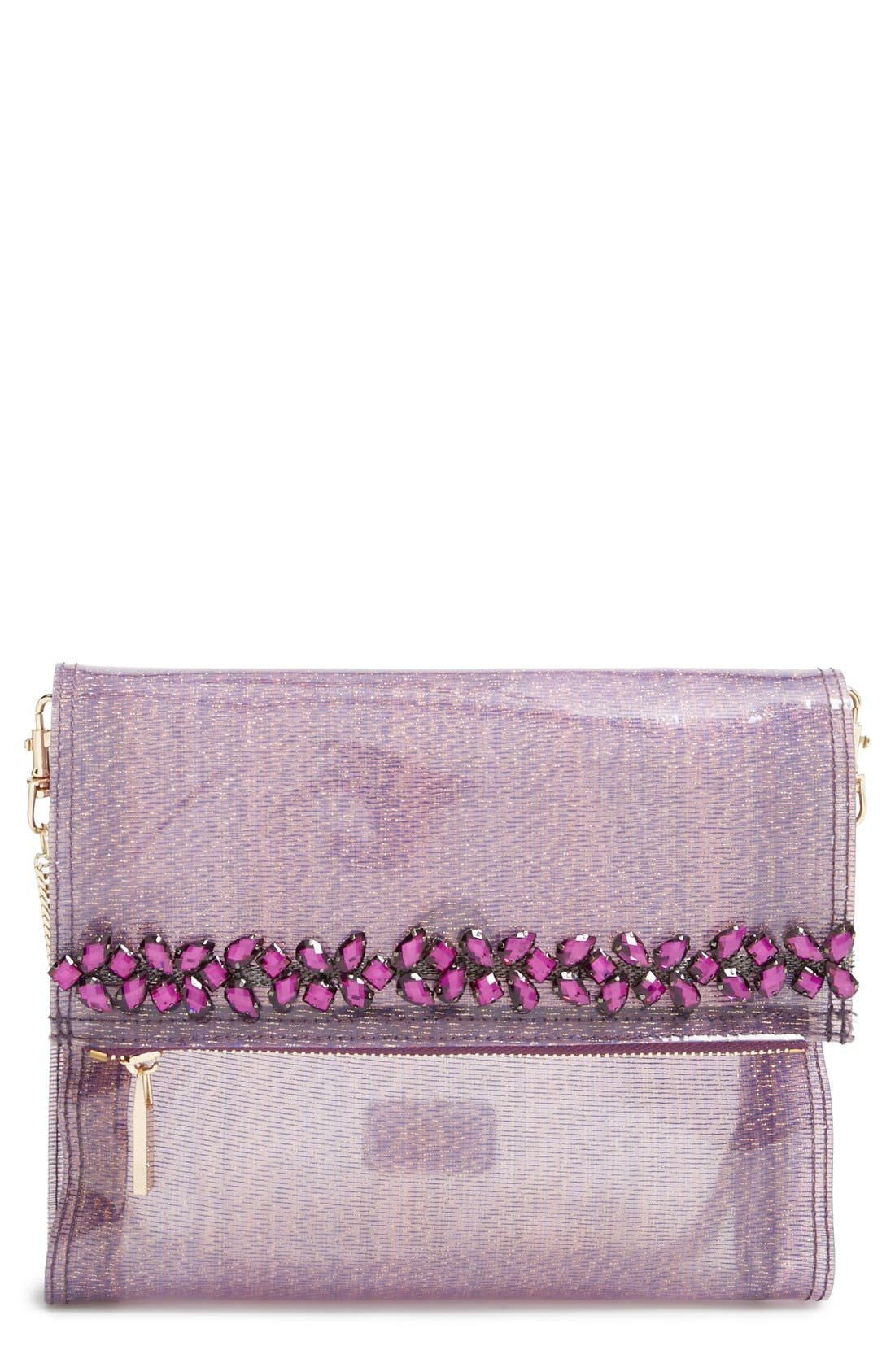 Main Image - Deux Lux 'Pasha' Crystal Embellished Convertible Foldover Clutch