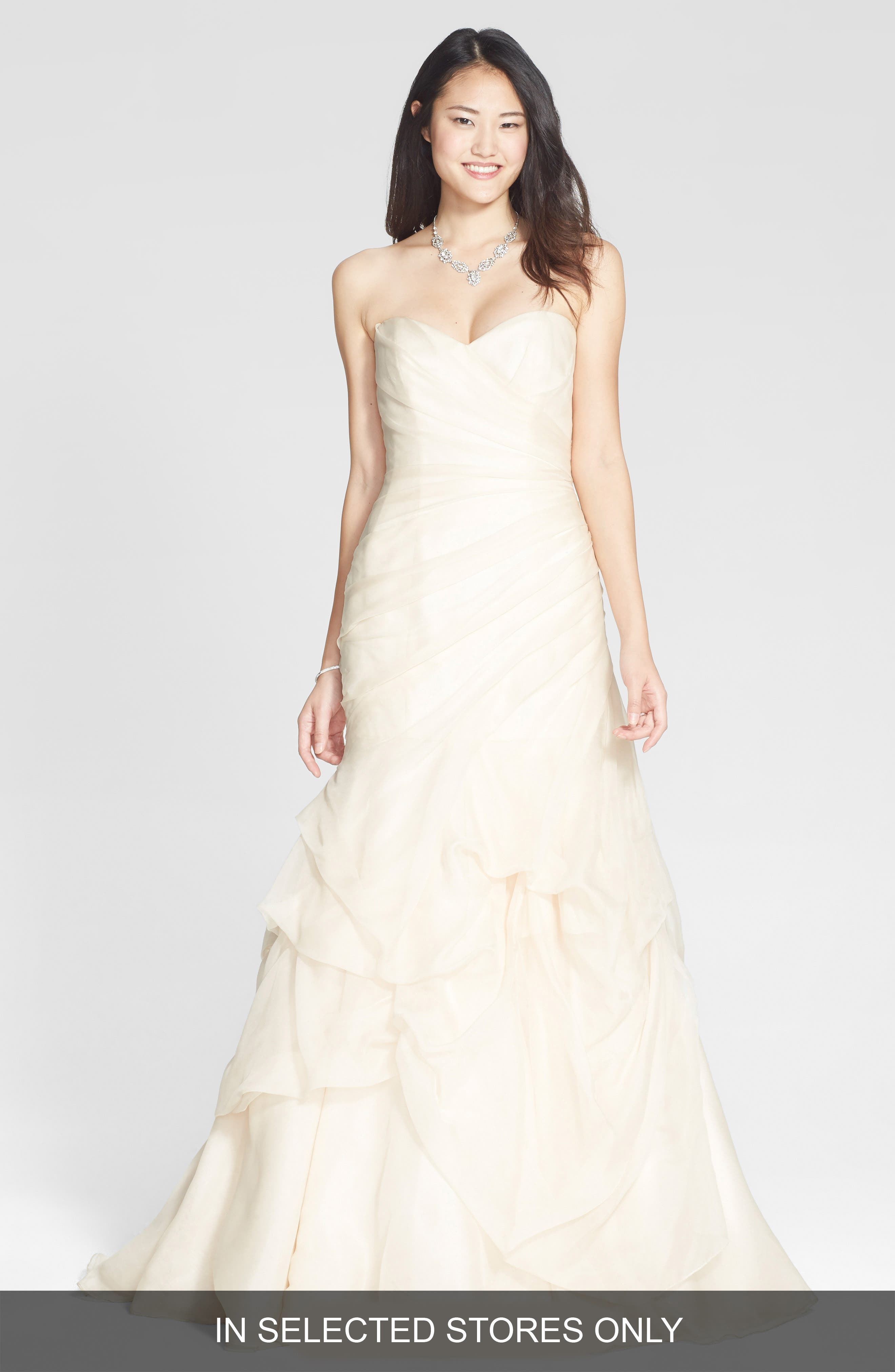 BLISS Monique Lhuillier Draped Silk Organza Trumpet Dress (In Stores Only)