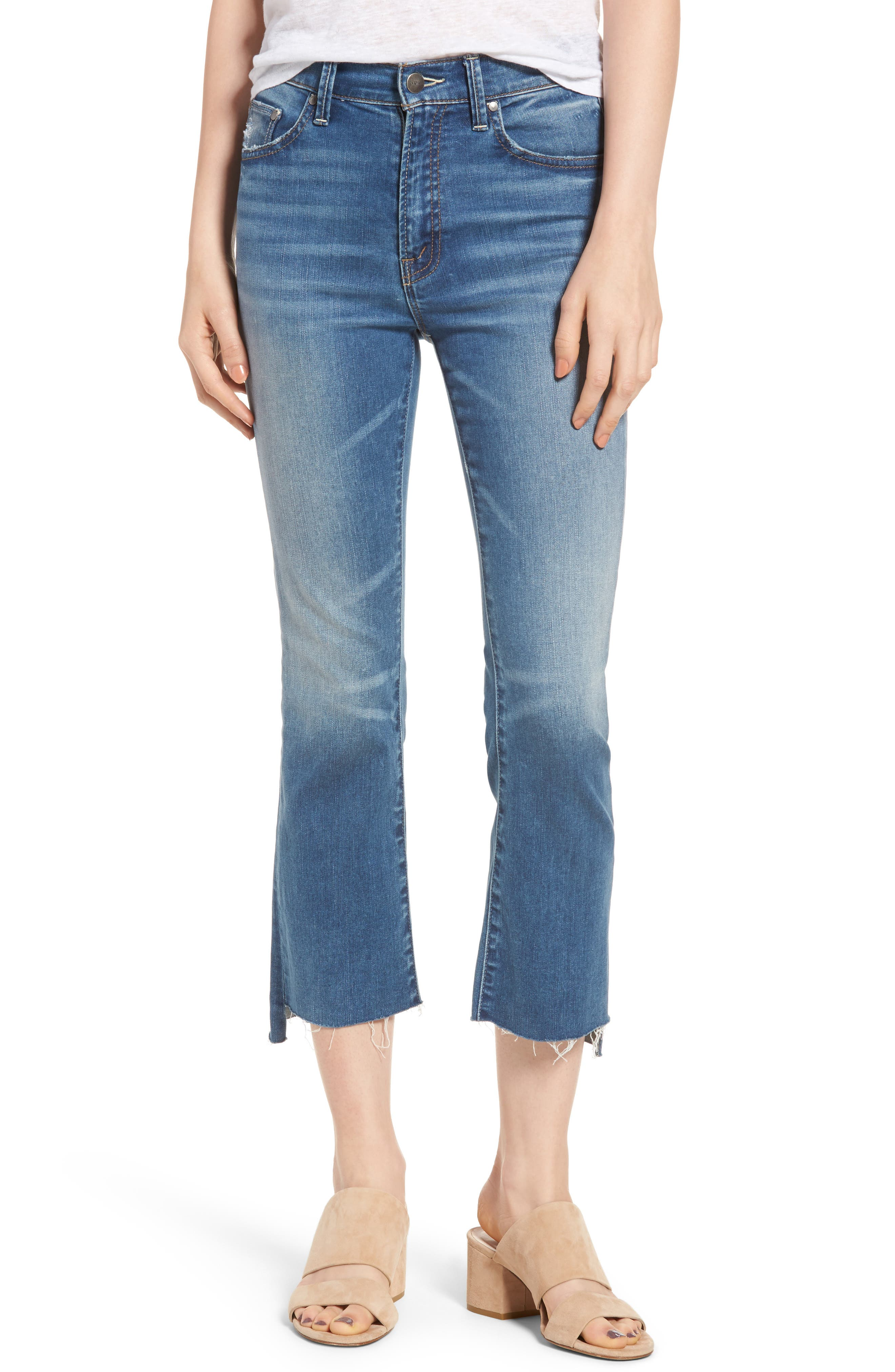 EVIDNT Girlfriend Step Hem Crop Flare Jeans
