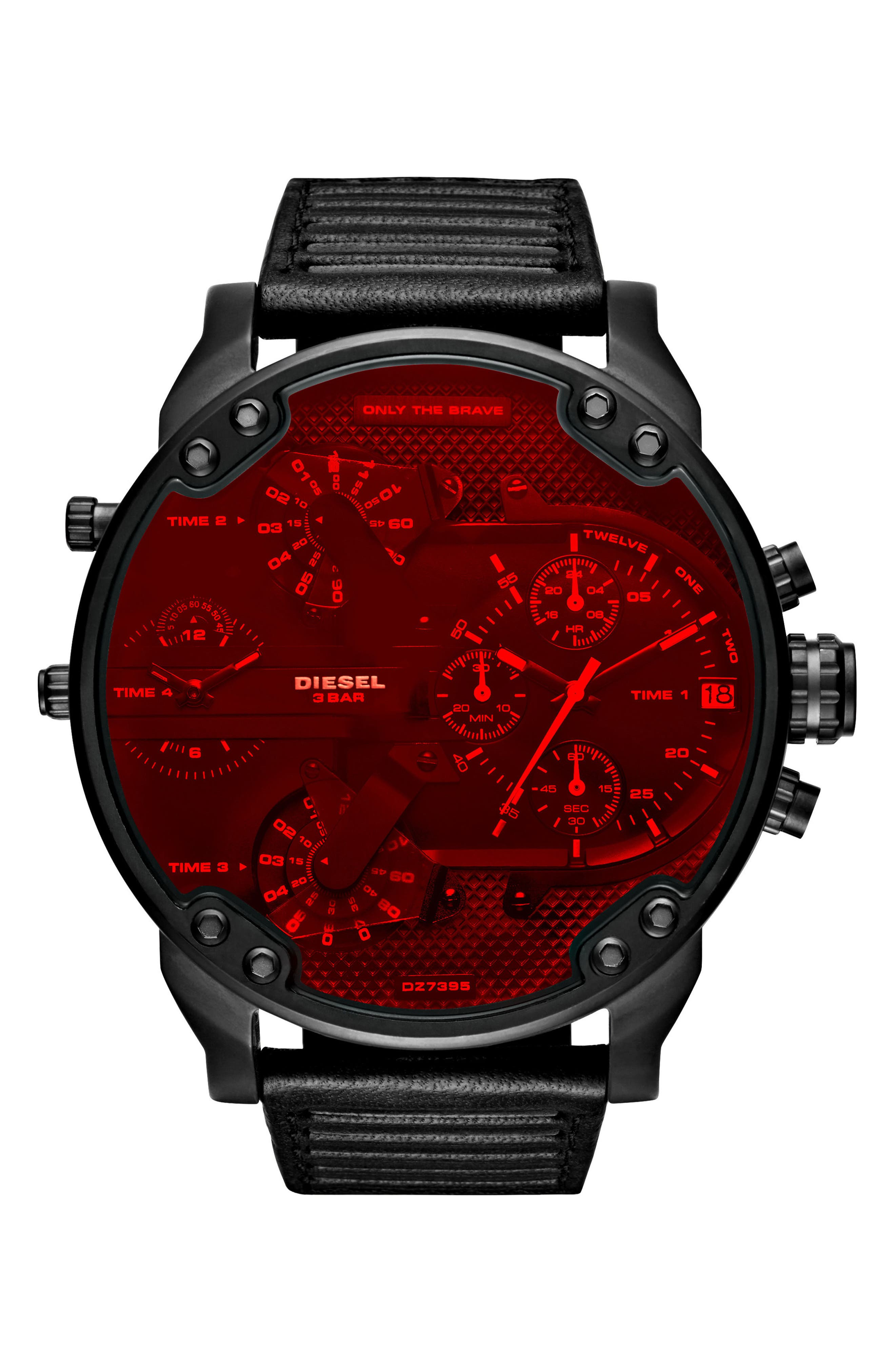 DIESEL® Crystal Mr. Daddy 2.0 Chronograph Leather Strap Watch, 57mm x 66mm