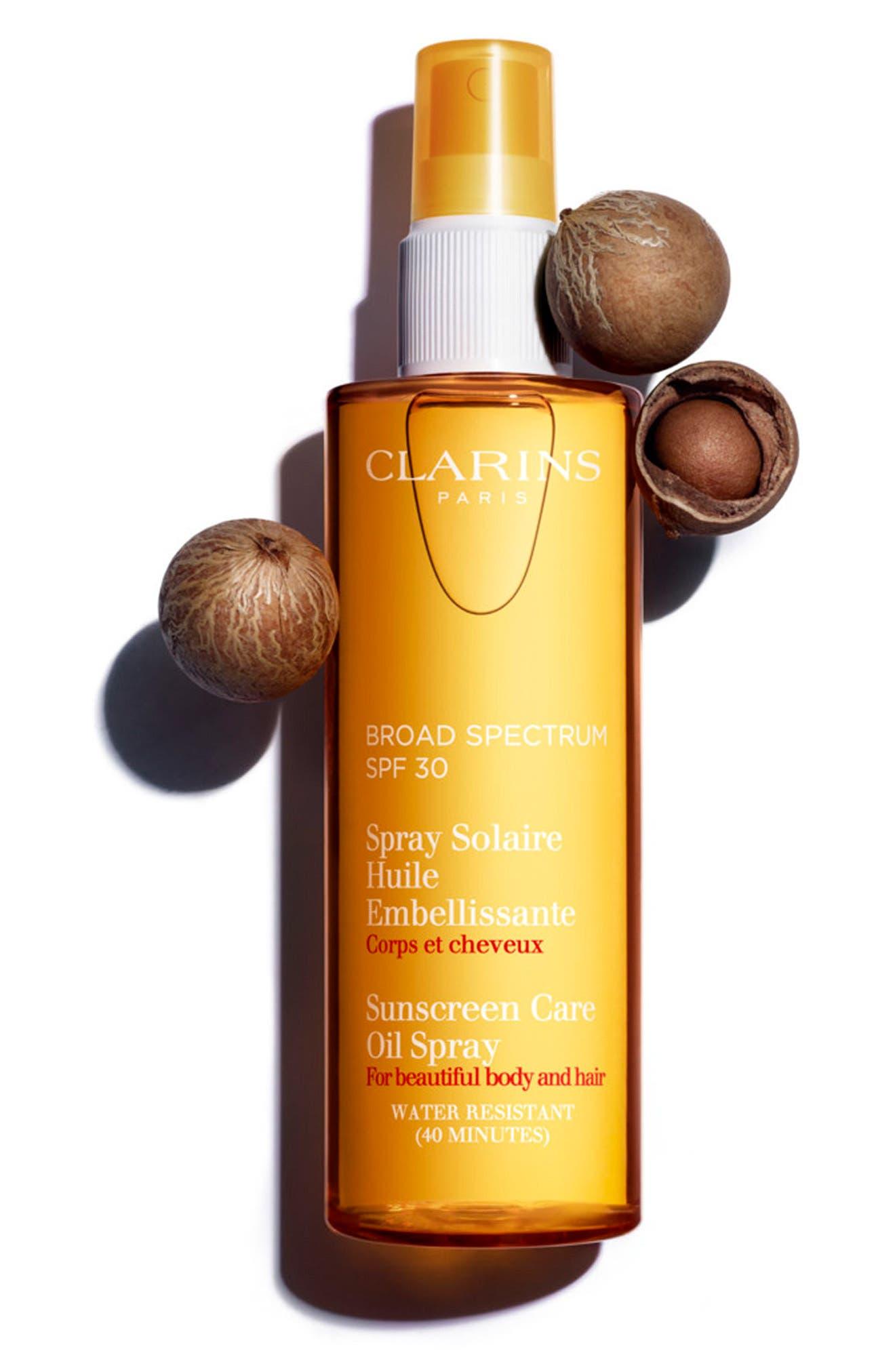 Alternate Image 2  - Clarins Sunscreen Care Oil Spray SPF 30 for Skin & Hair