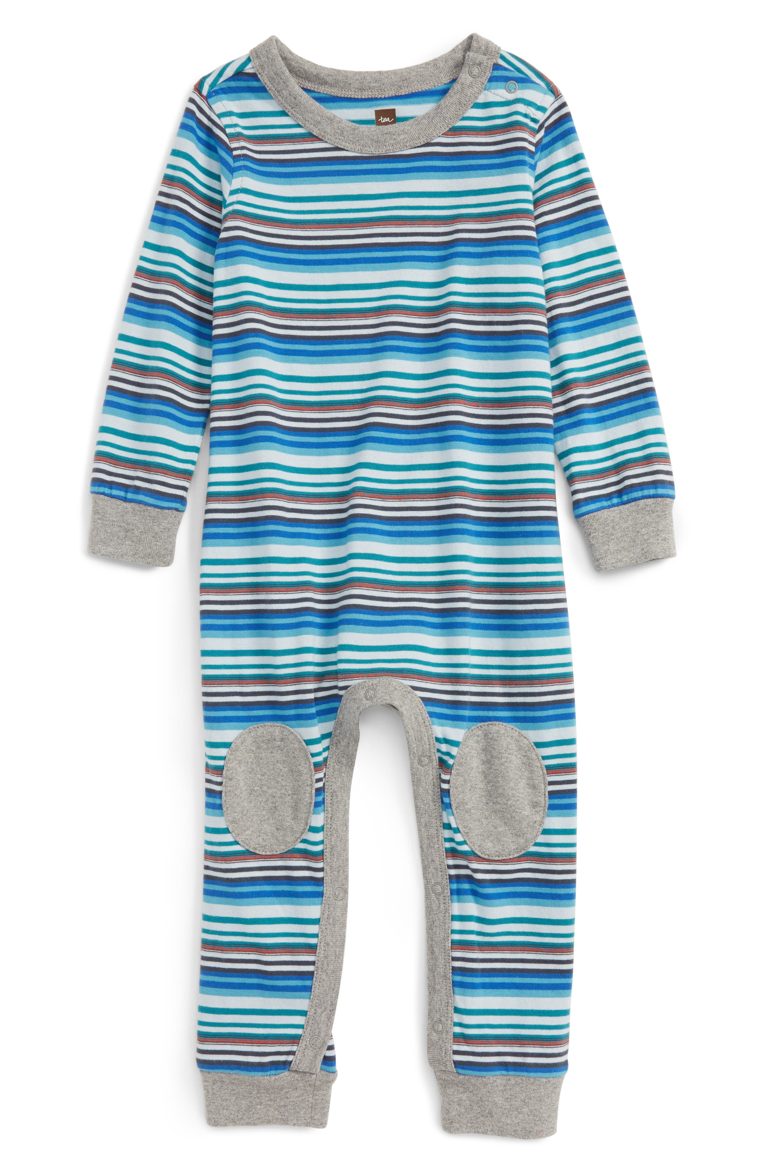 Tea Collection Fraser Knee Patches Romper (Baby Boys)