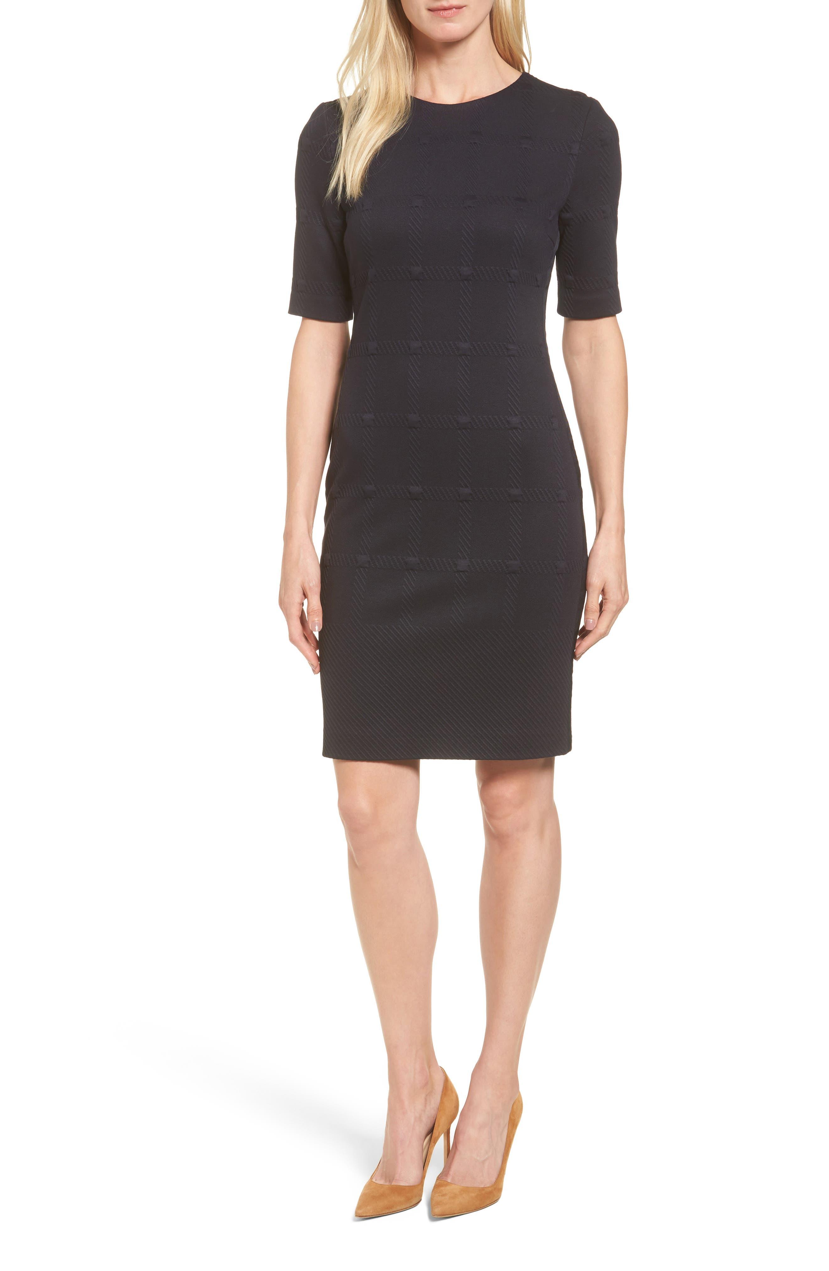 BOSS Hanelli Check Jacquard Sheath Dress