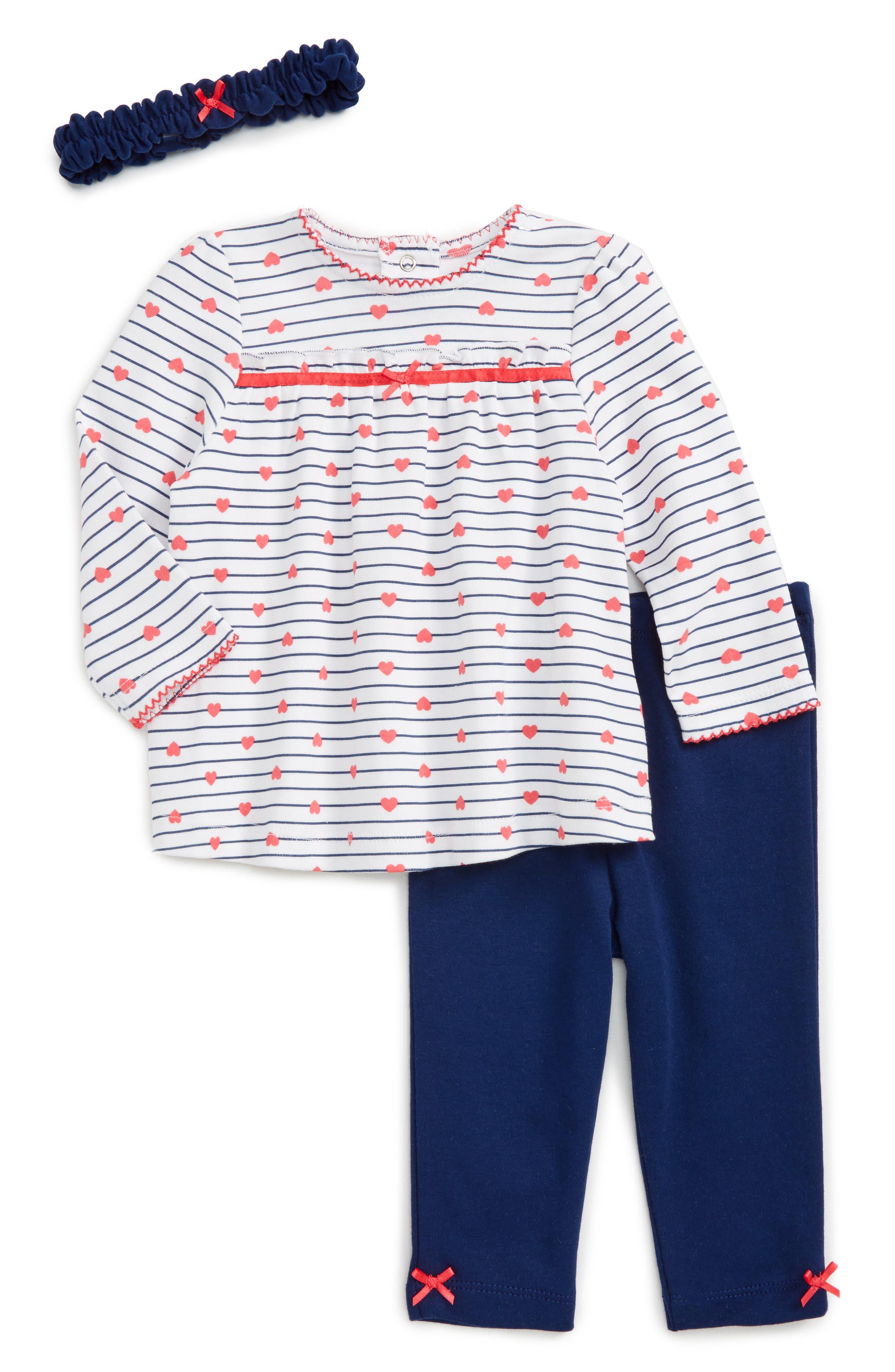 Little Me Heart Stripe Tunic, Pants & Headband Set (Baby Girls)