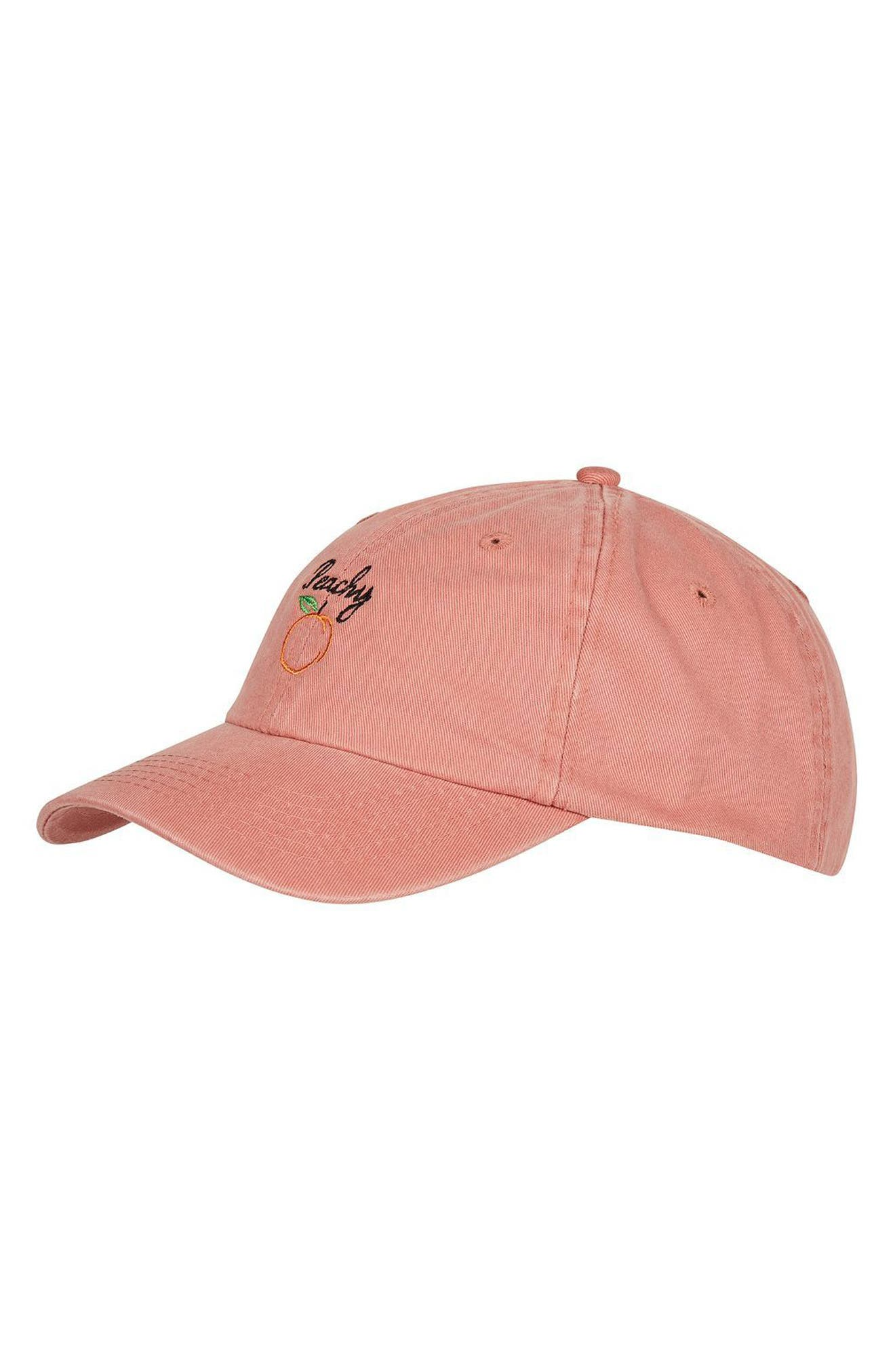 Topshop Peachy Embroidered Ball Cap