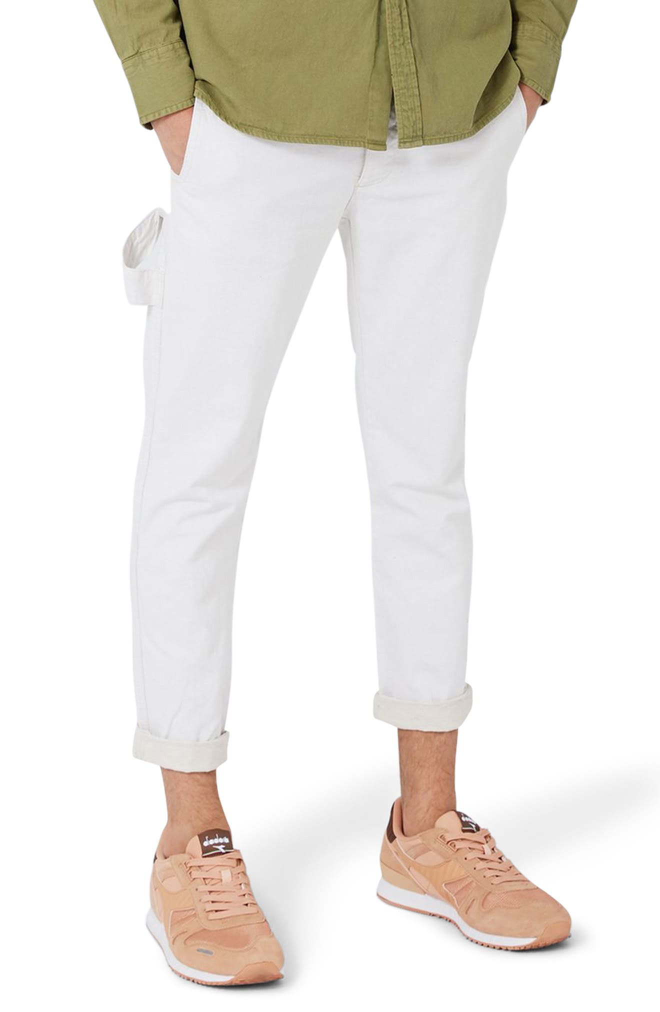 Topman Tapered Crop Worker Trousers