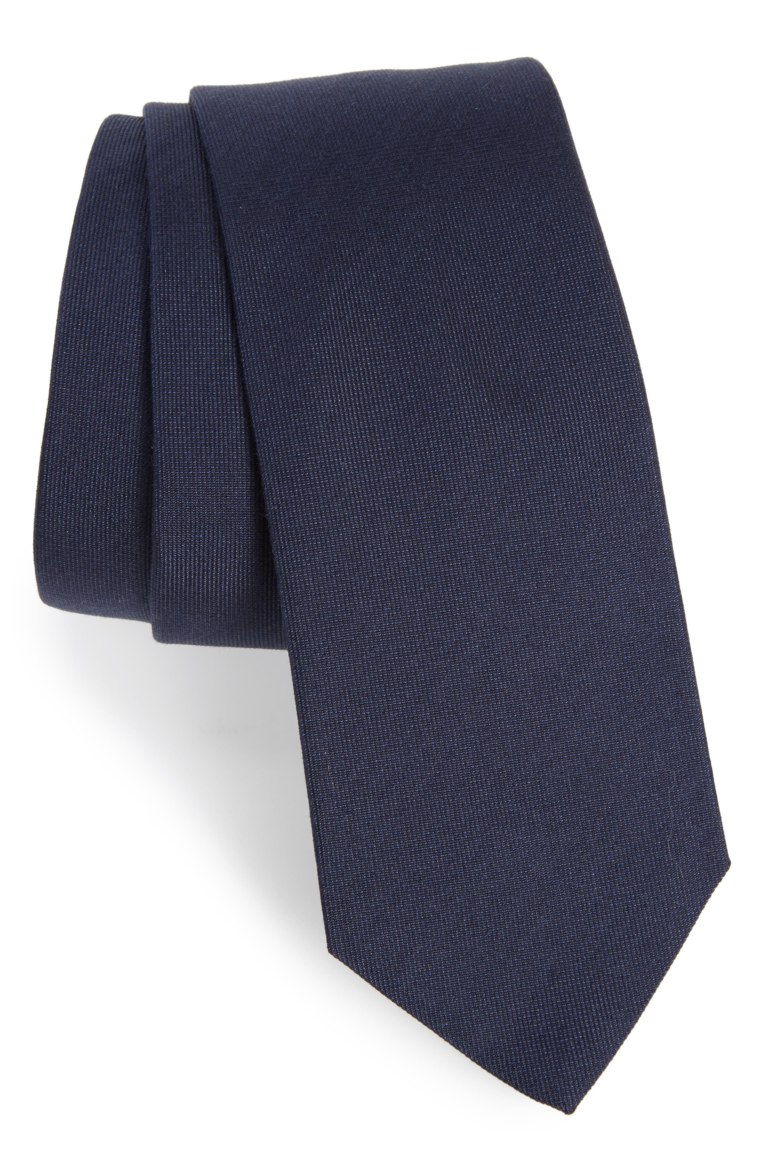 BOSS Solid Silk & Cotton Skinny Tie