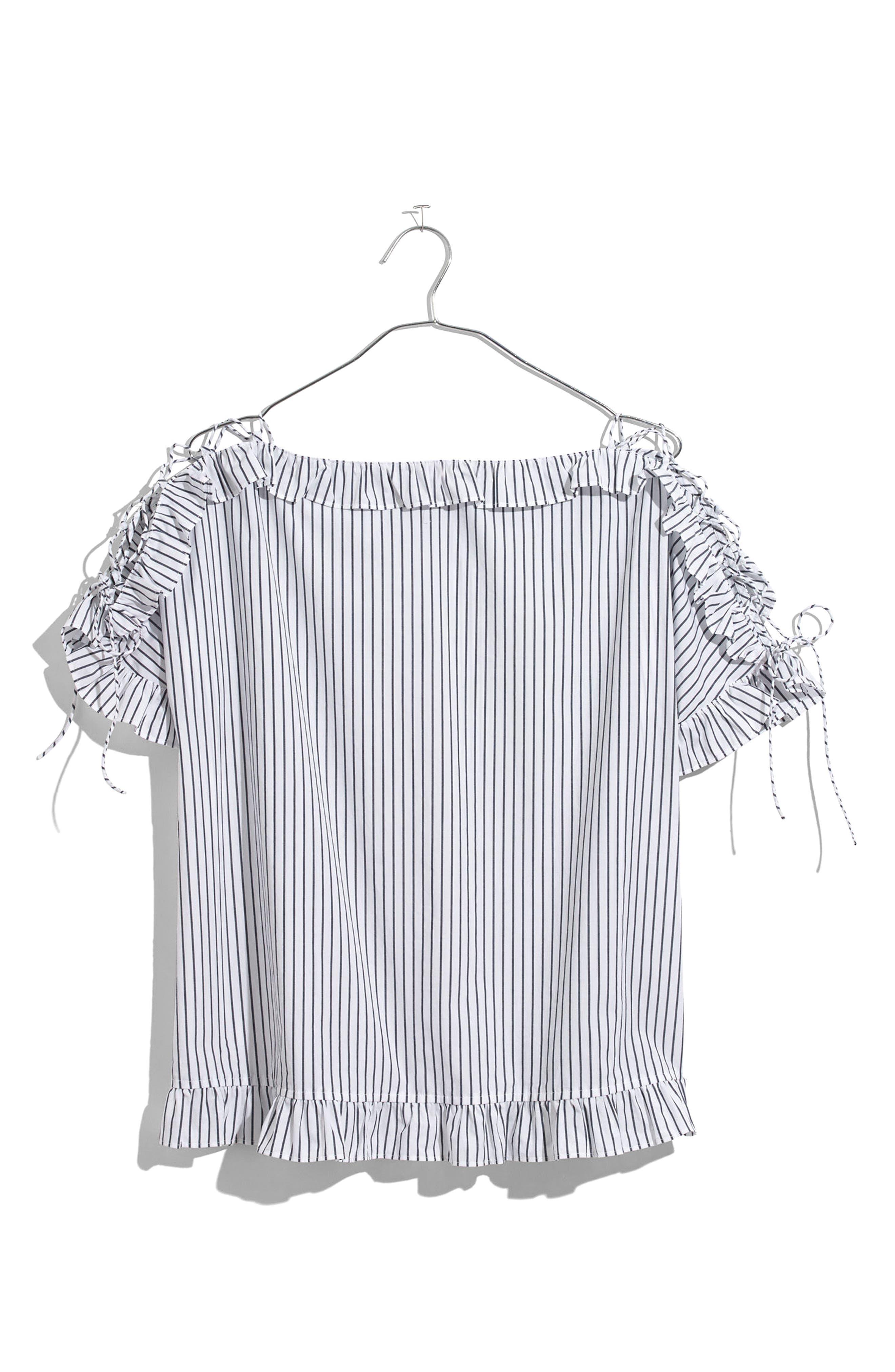 Madewell Ruffle Lace-Up Sleeve Top