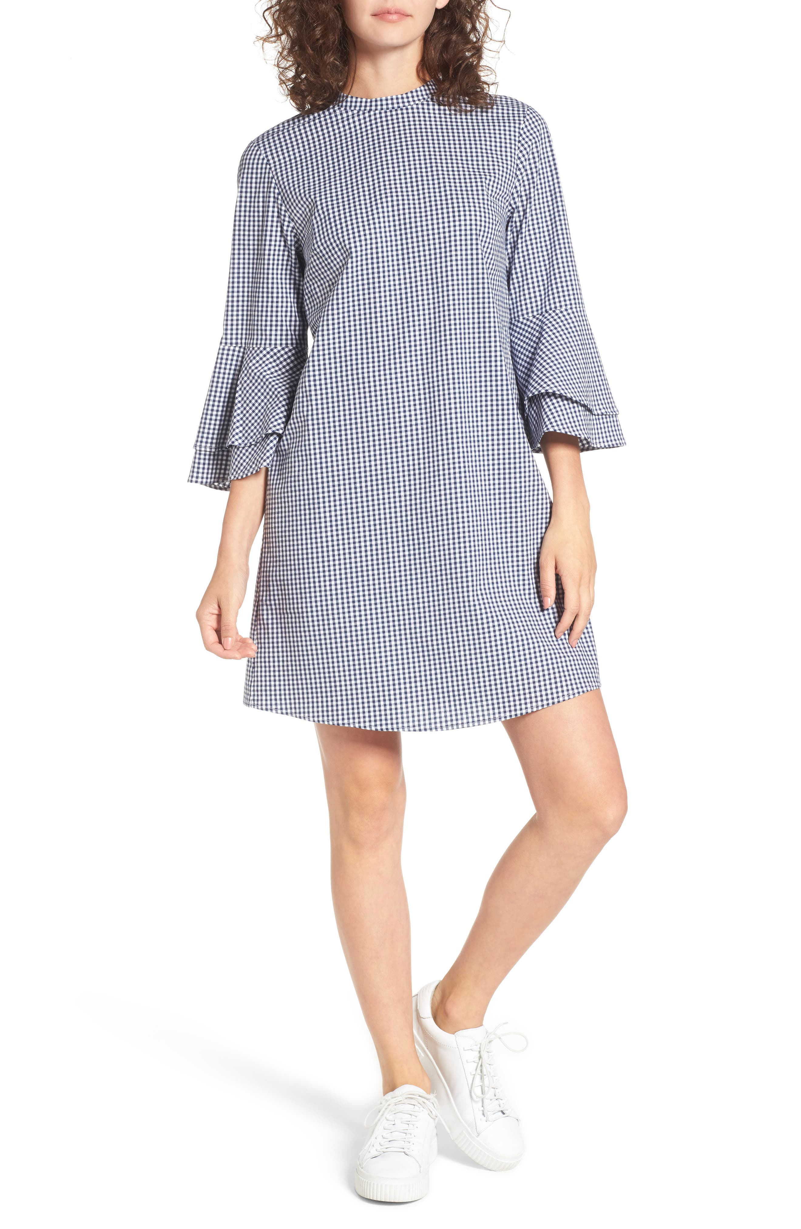 Everly Flare Sleeve Gingham Dress