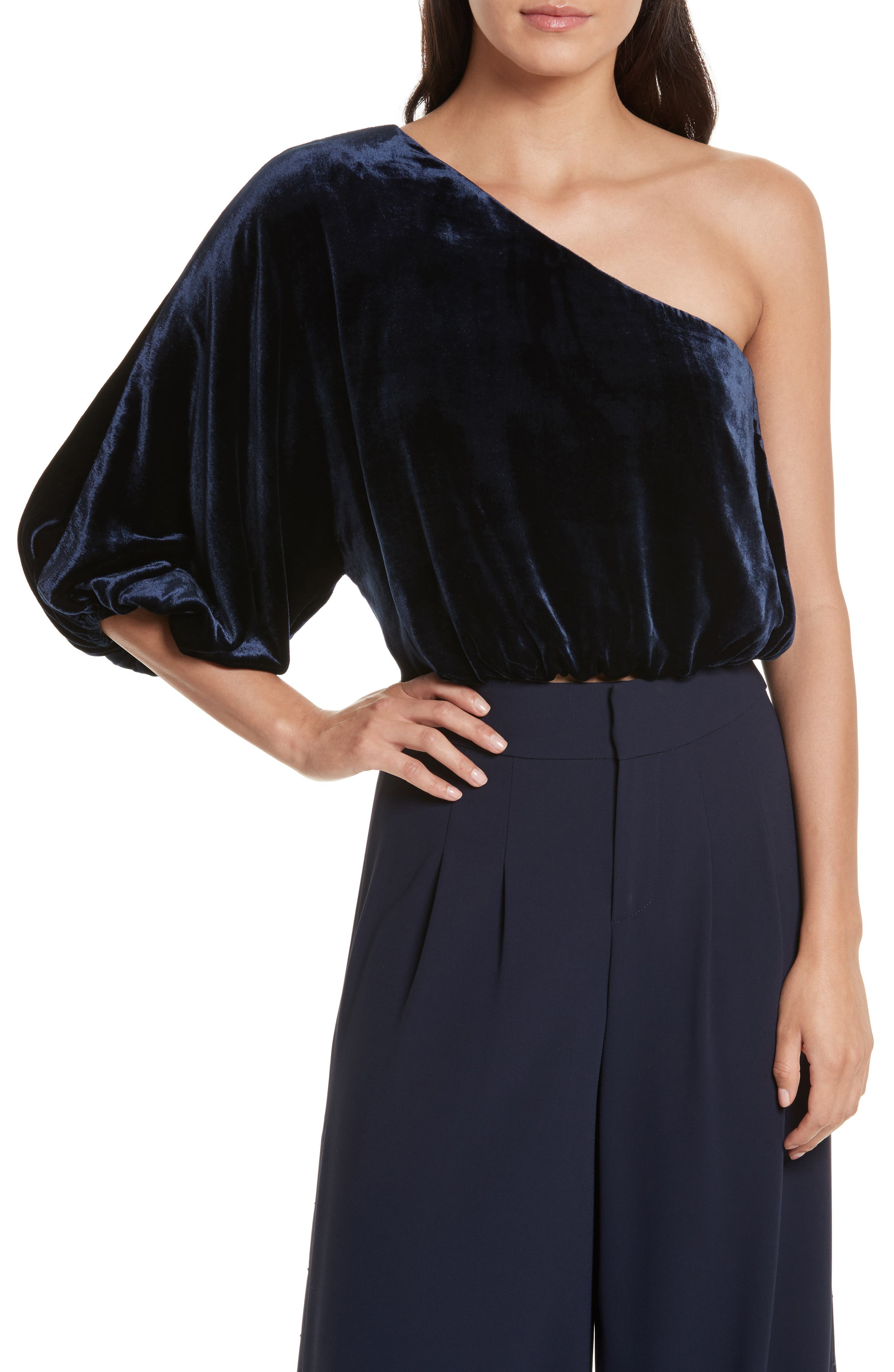 Alice + Olivia Craven One-Shoulder Velvet Blouson Top