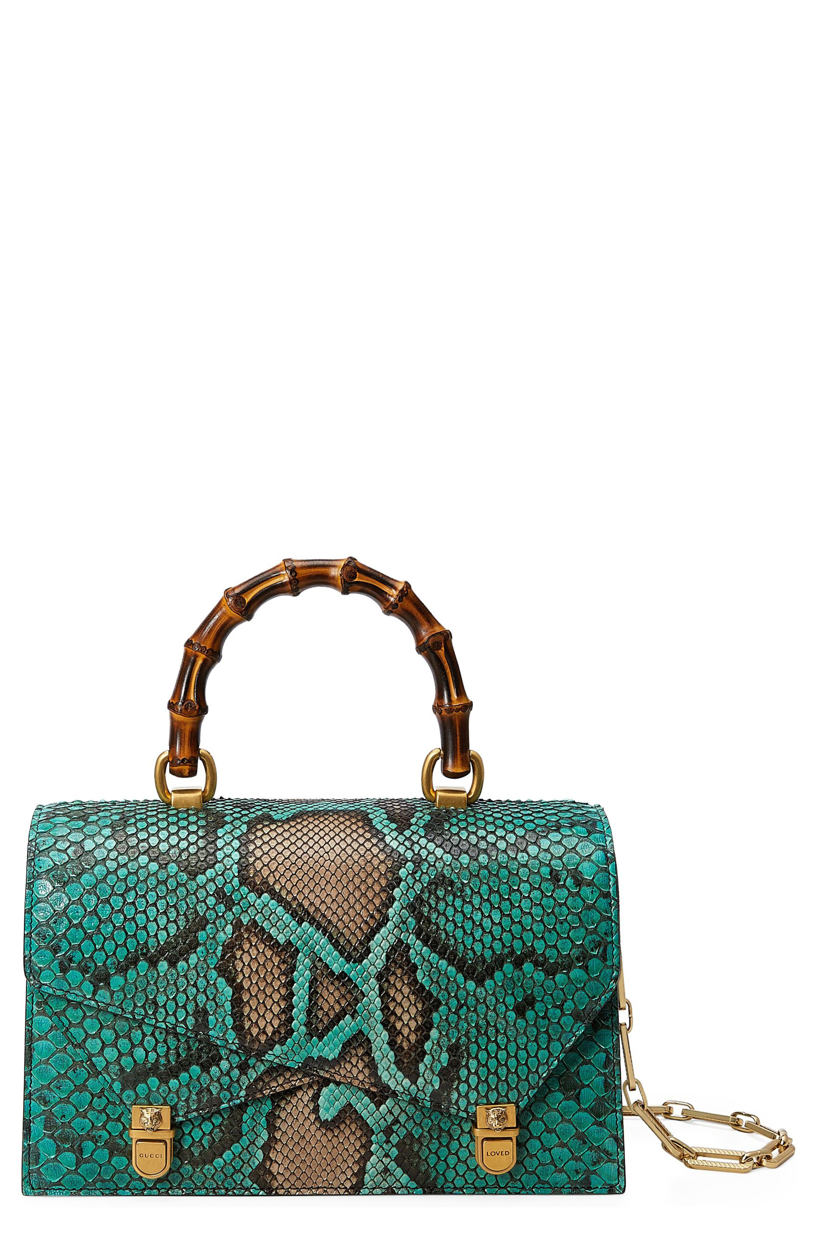 Gucci Small Linea P Painted Genuine Python Top Handle Satchel