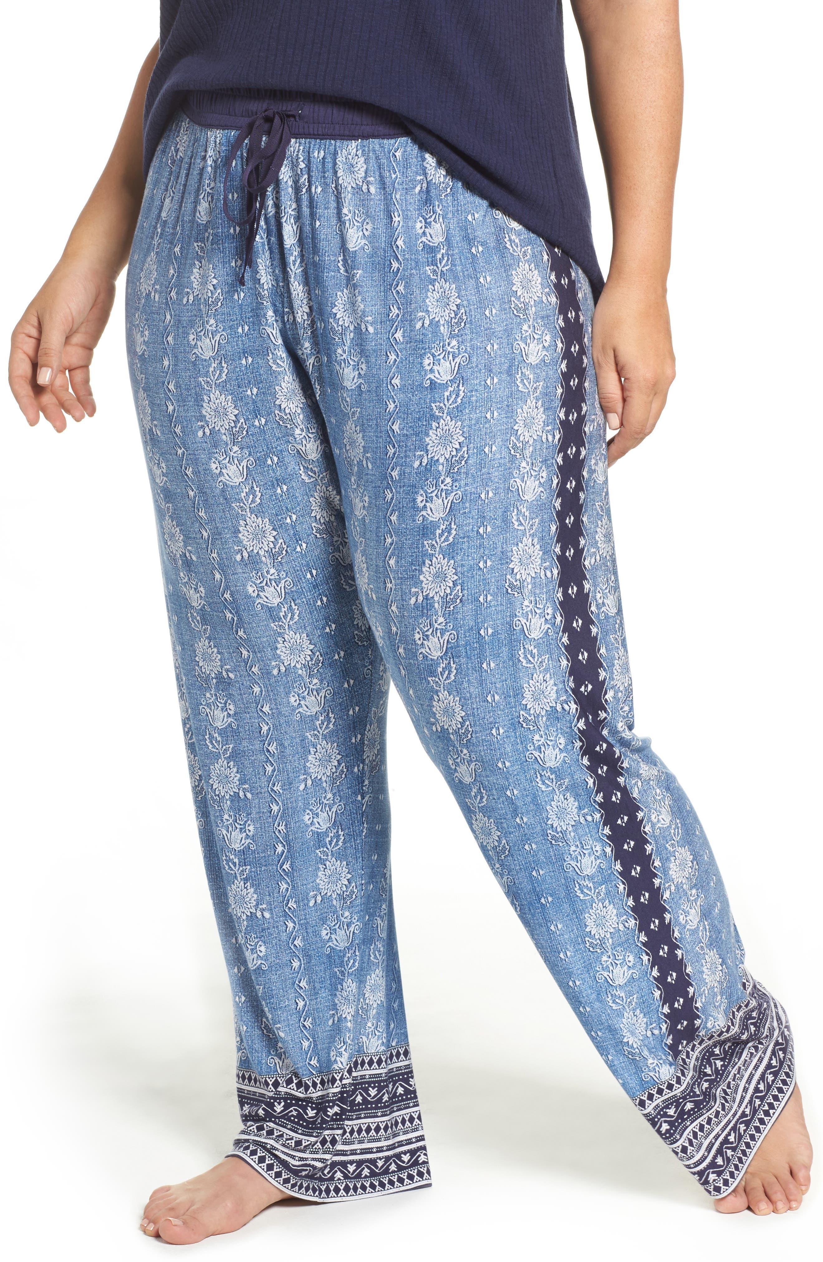 PJ Salvage Blue Traveler Pajama Pants (Plus Size)