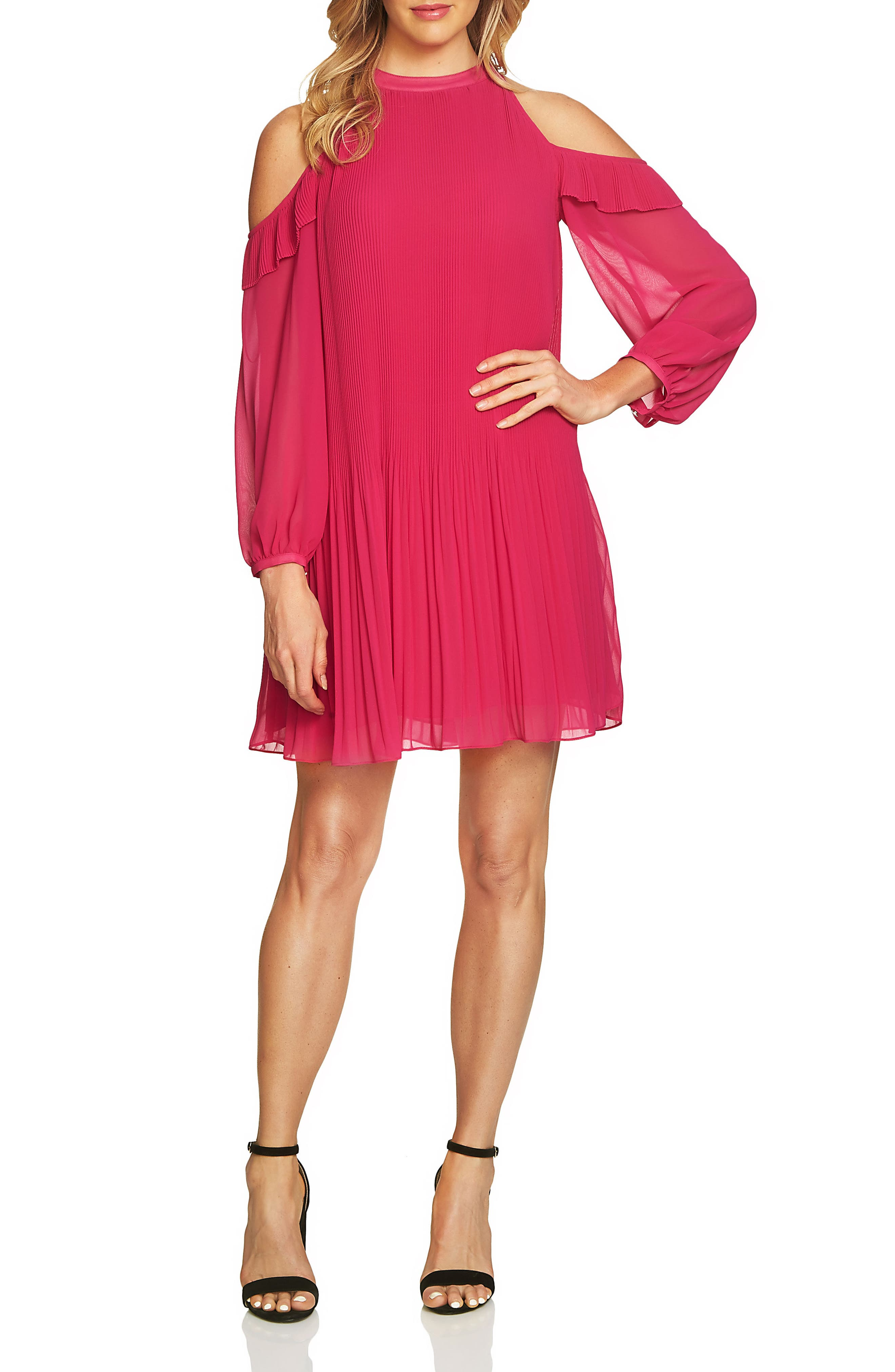 Cece Noelle Cold Shoulder Chiffon Trapeze Dress (Regular & Petite)