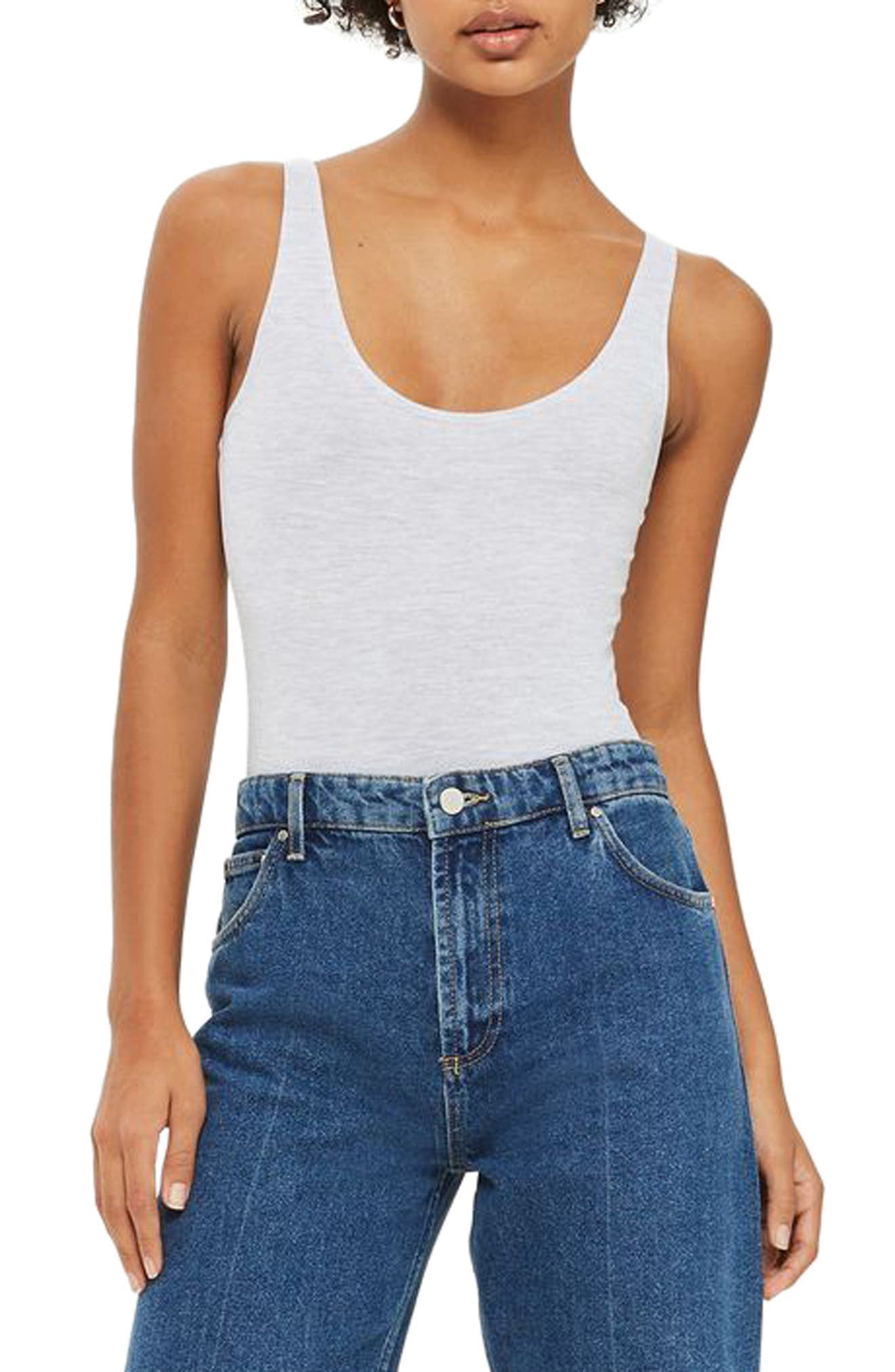 Topshop Stretch Cotton Tank Bodysuit