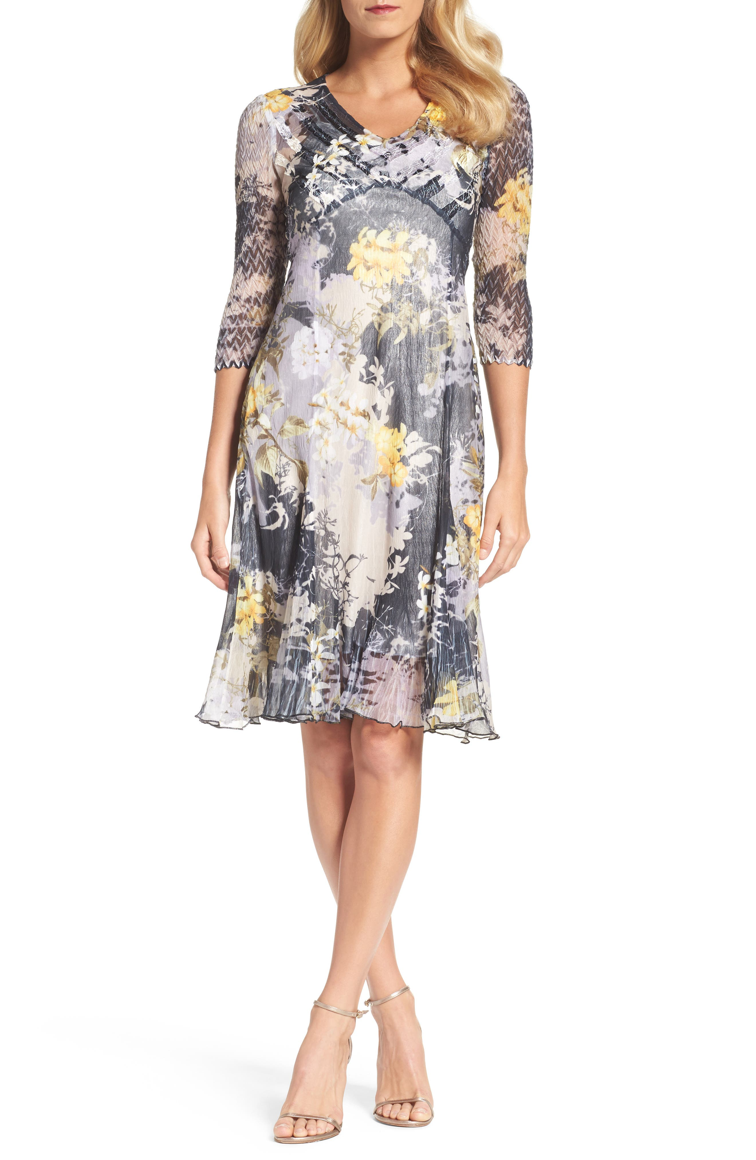 Komarov Print Chiffon A-Line Dress (Regular & Petite)
