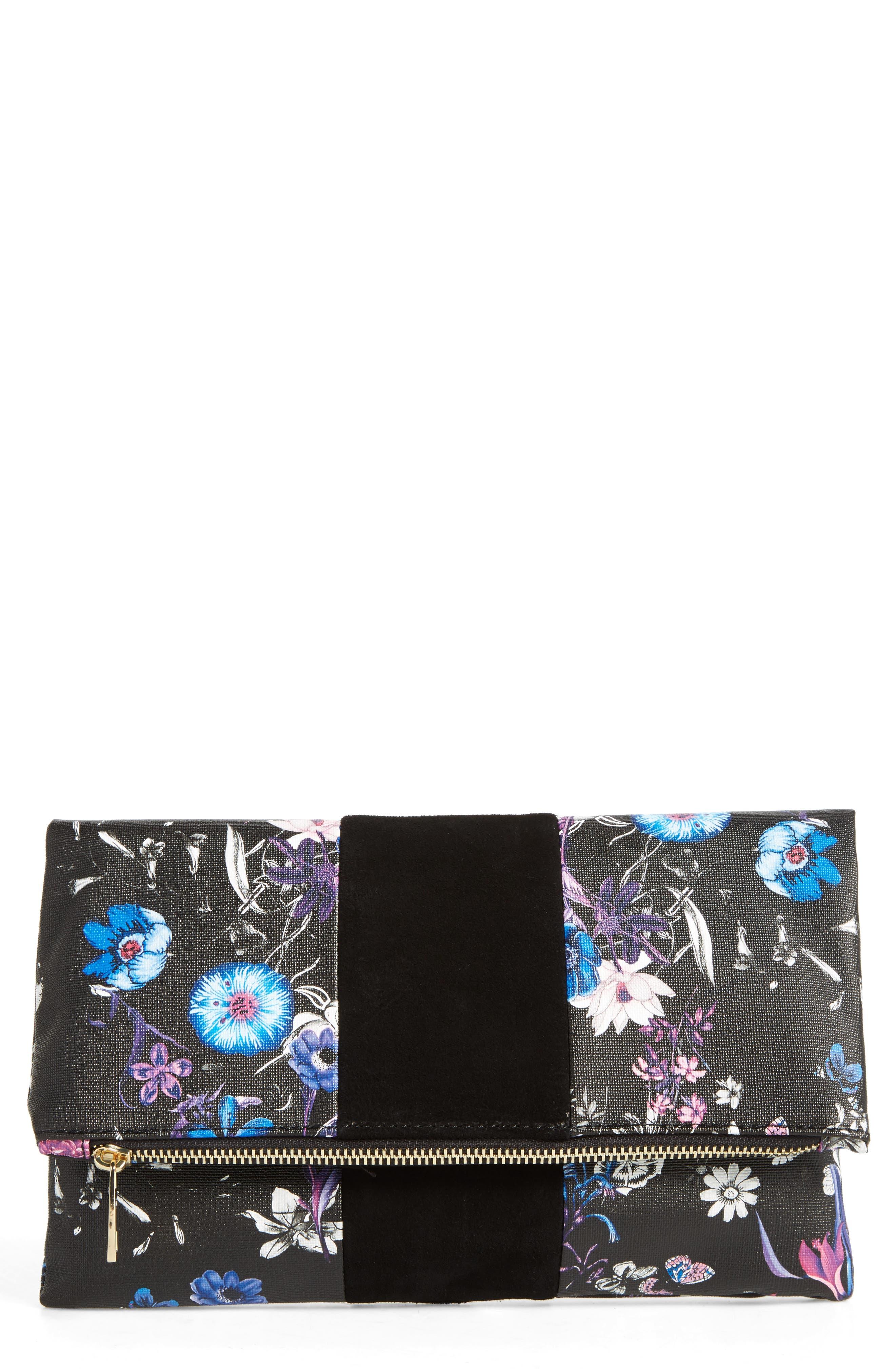 BP. Tonal Floral Print Foldover Clutch