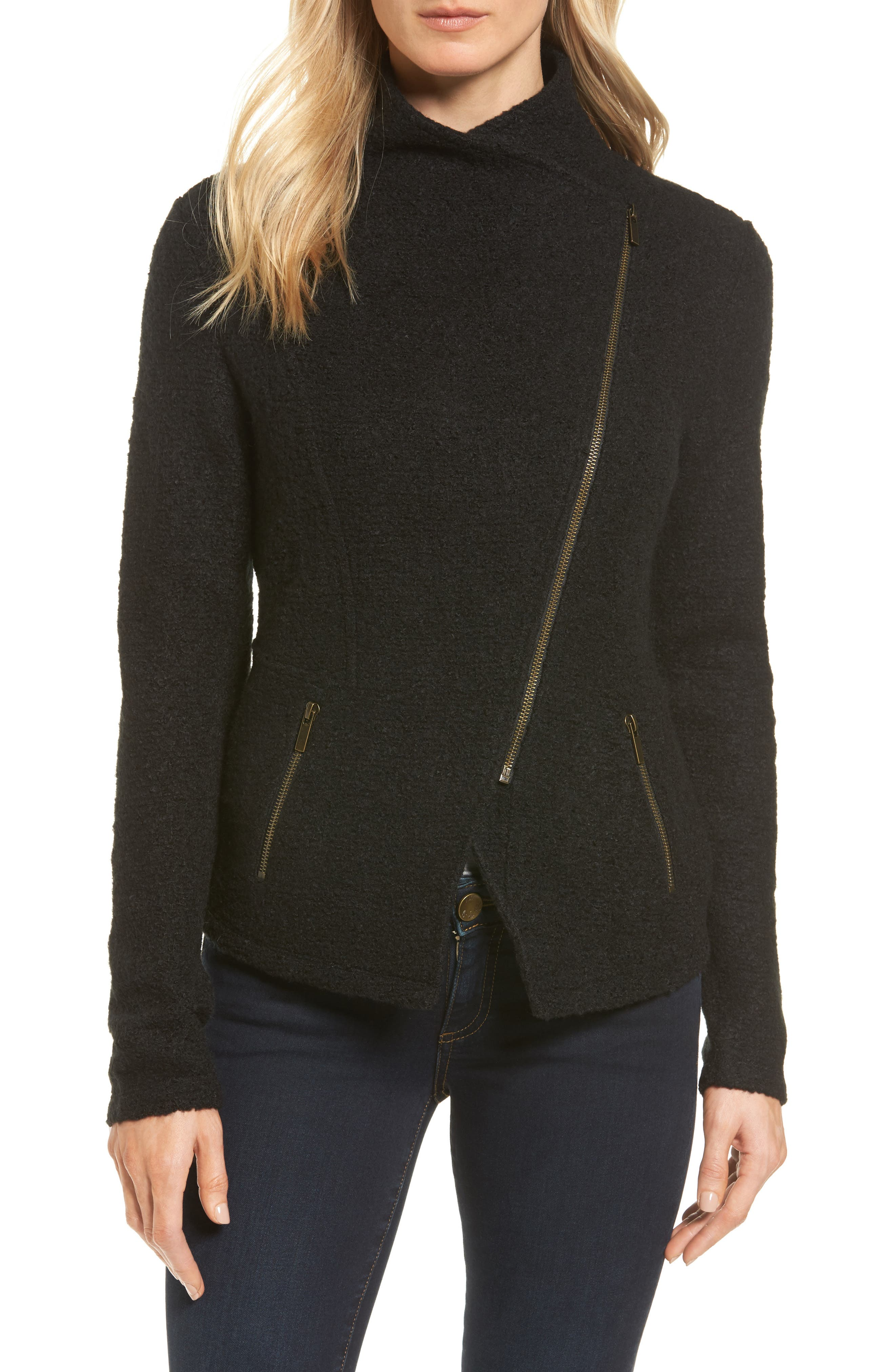 Alternate Image 4  - Halogen® Knit Moto Jacket (Regular & Petite)