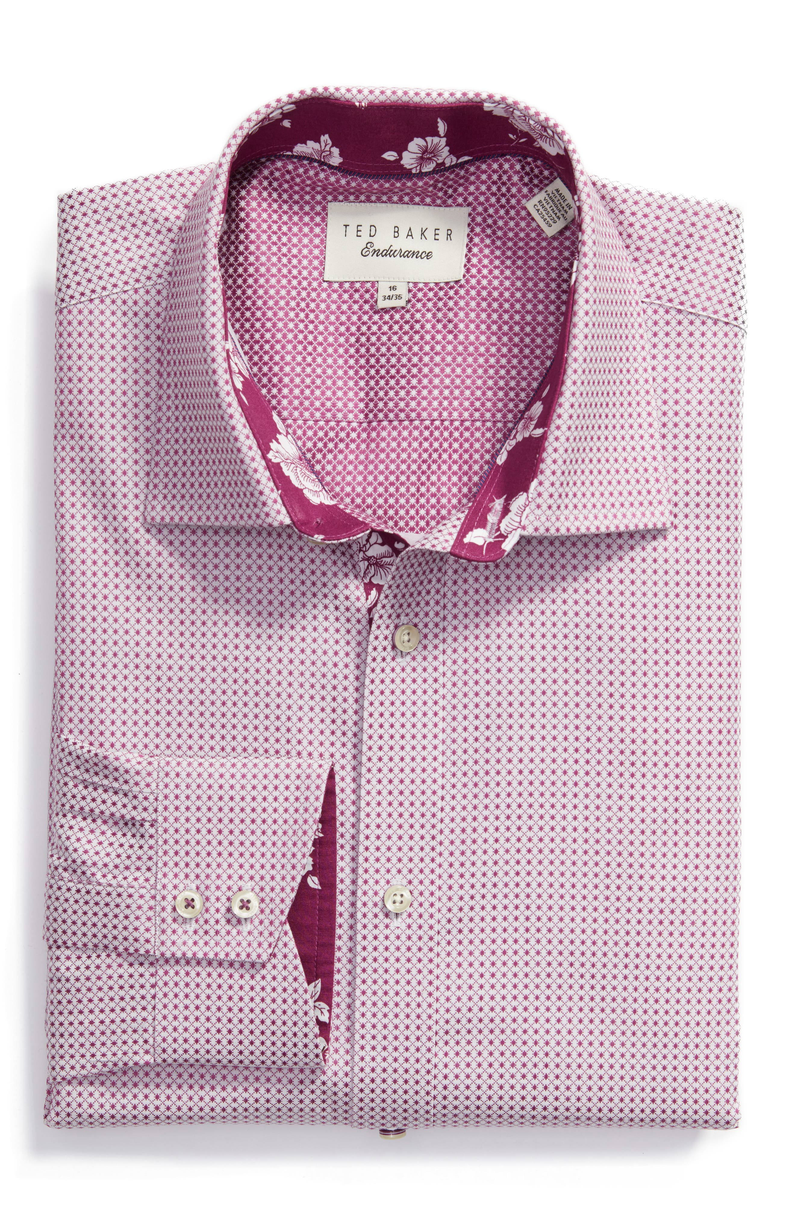 Ted Baker London Eager Trim Fit Geometric Dress Shirt