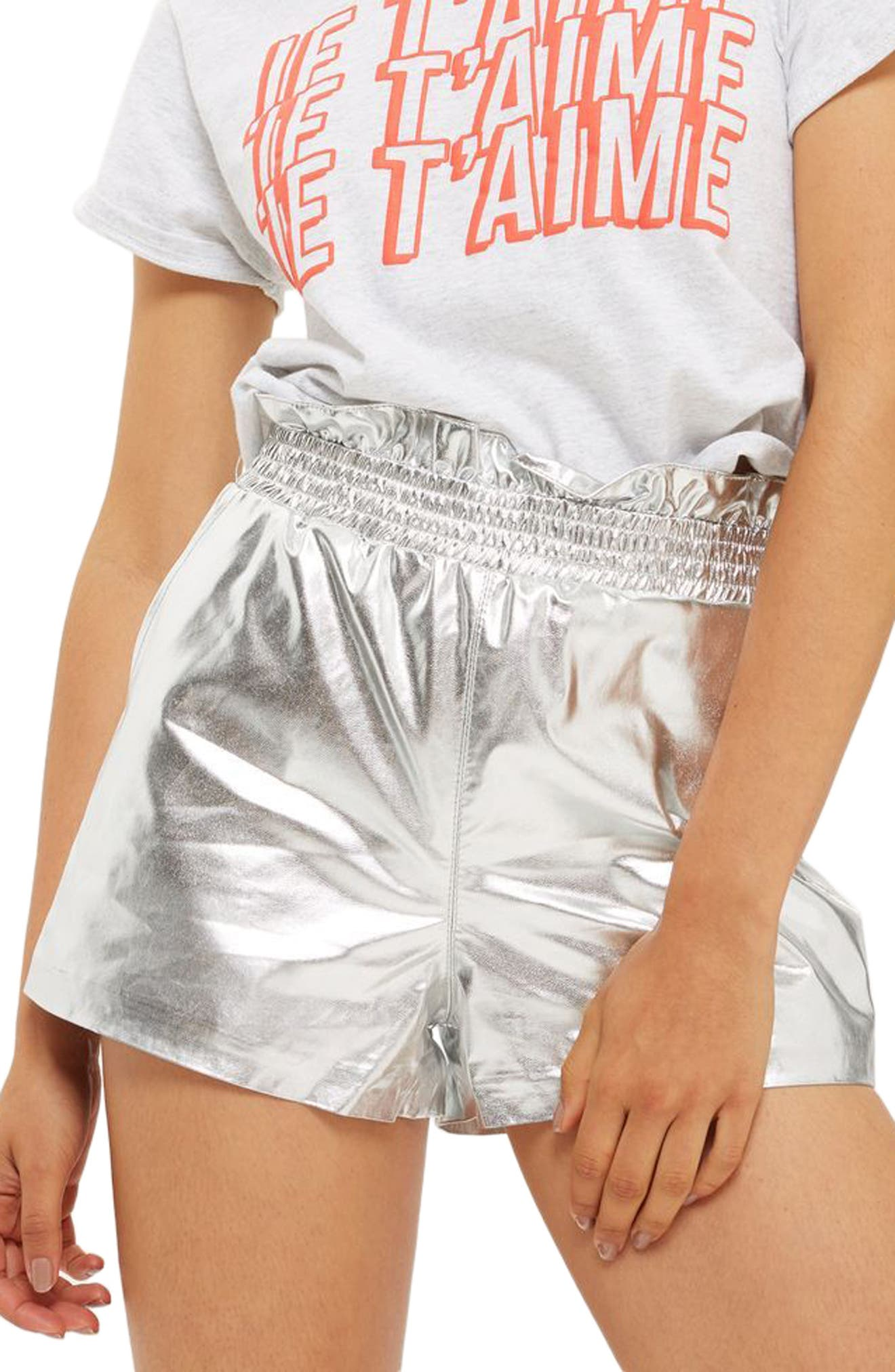 Topshop Faux Leather Paperbag Shorts