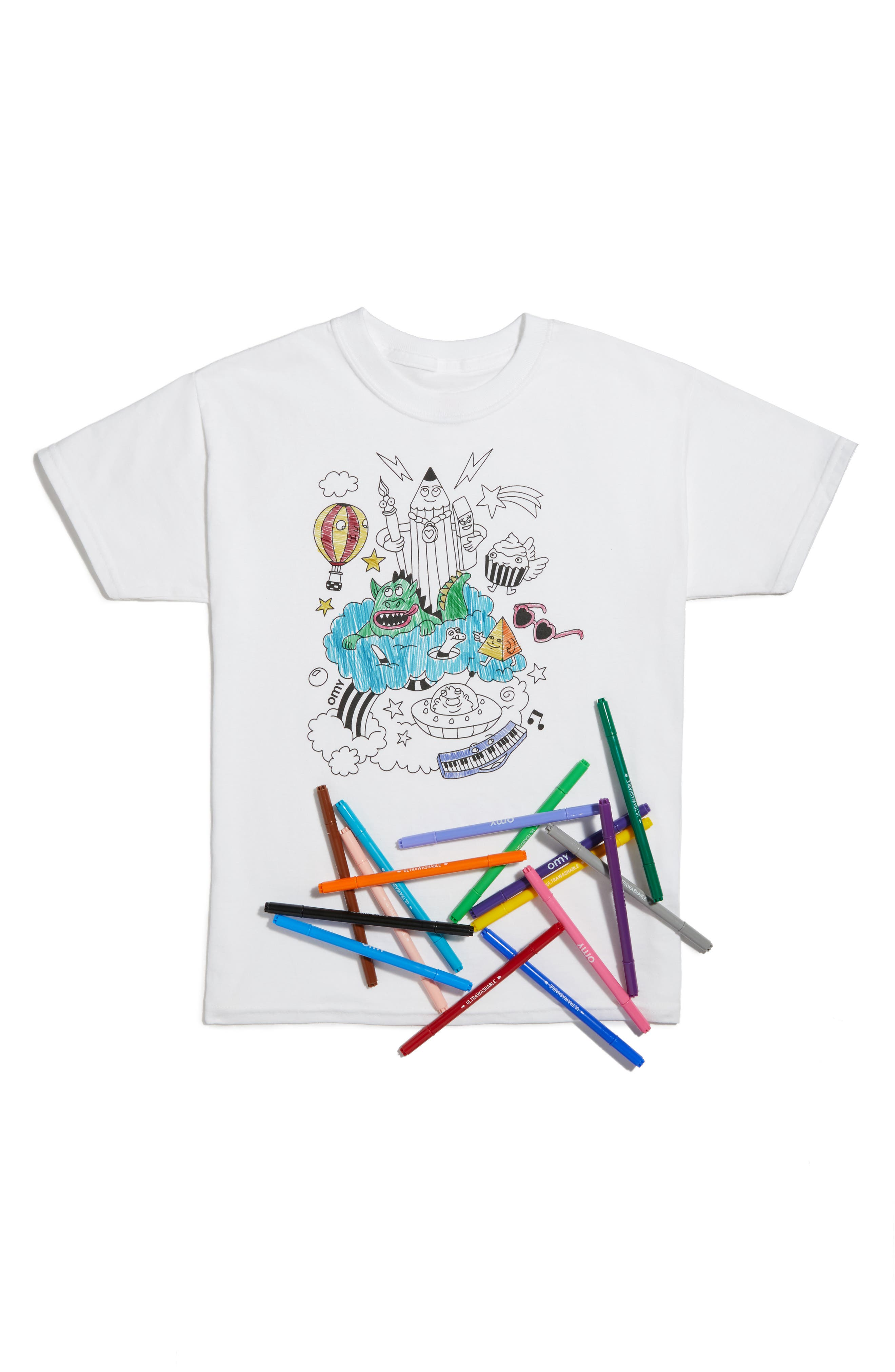 OMY Fantastic Graphic T-Shirt & Colored Markers Set (Kids)