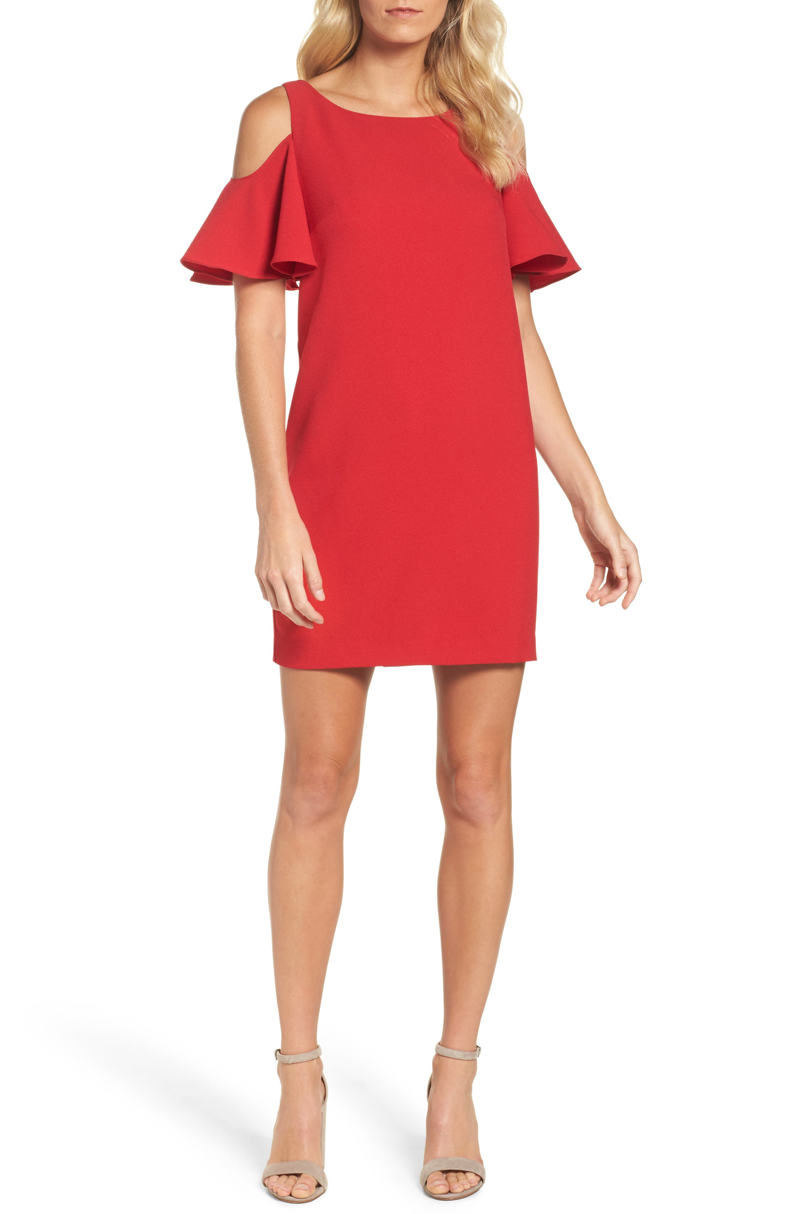 Chetta B Ruffle Cold Shoulder Shift Dress