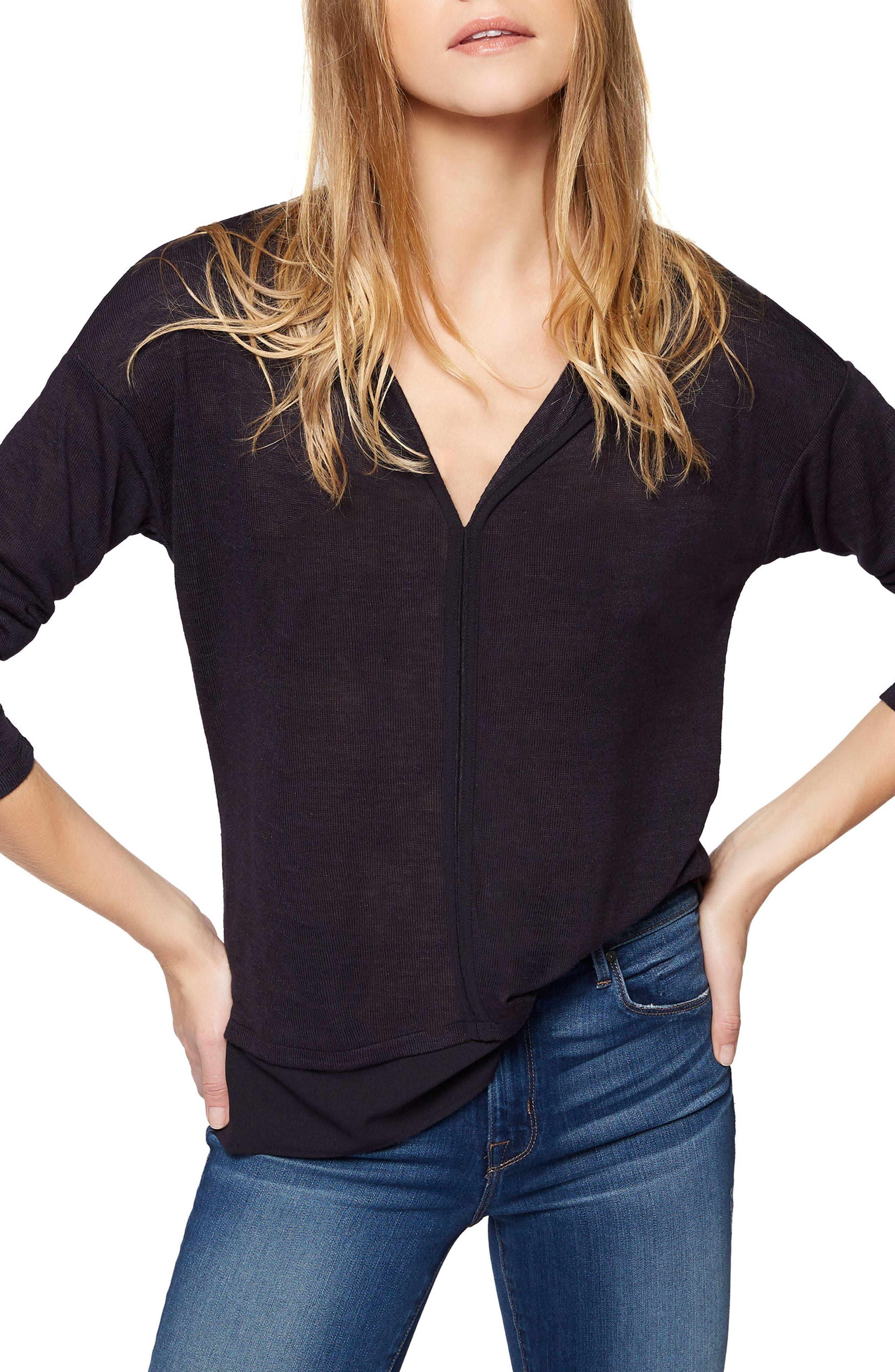 Sanctuary 'Hanna' Split Neck Knit Top (Regular & Petite)