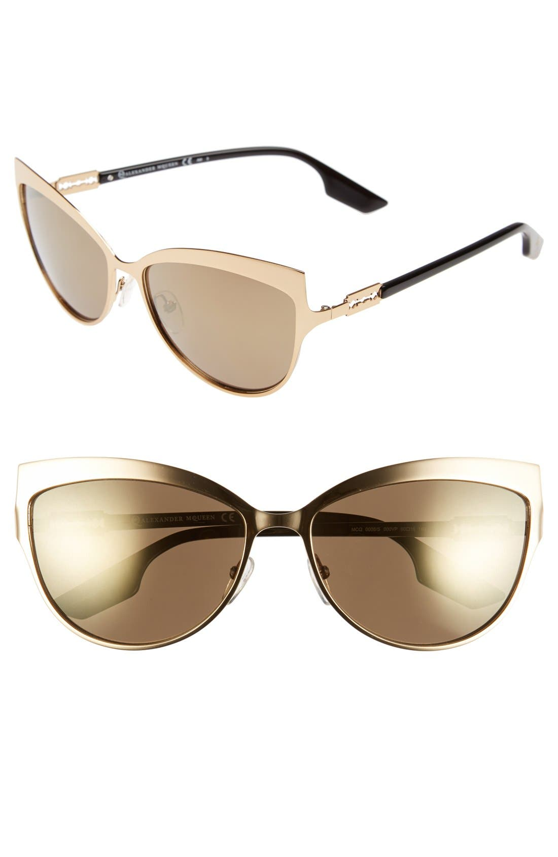 Main Image - McQ by Alexander McQueen 'Butterfly' 60mm Stainless Steel Sunglasses
