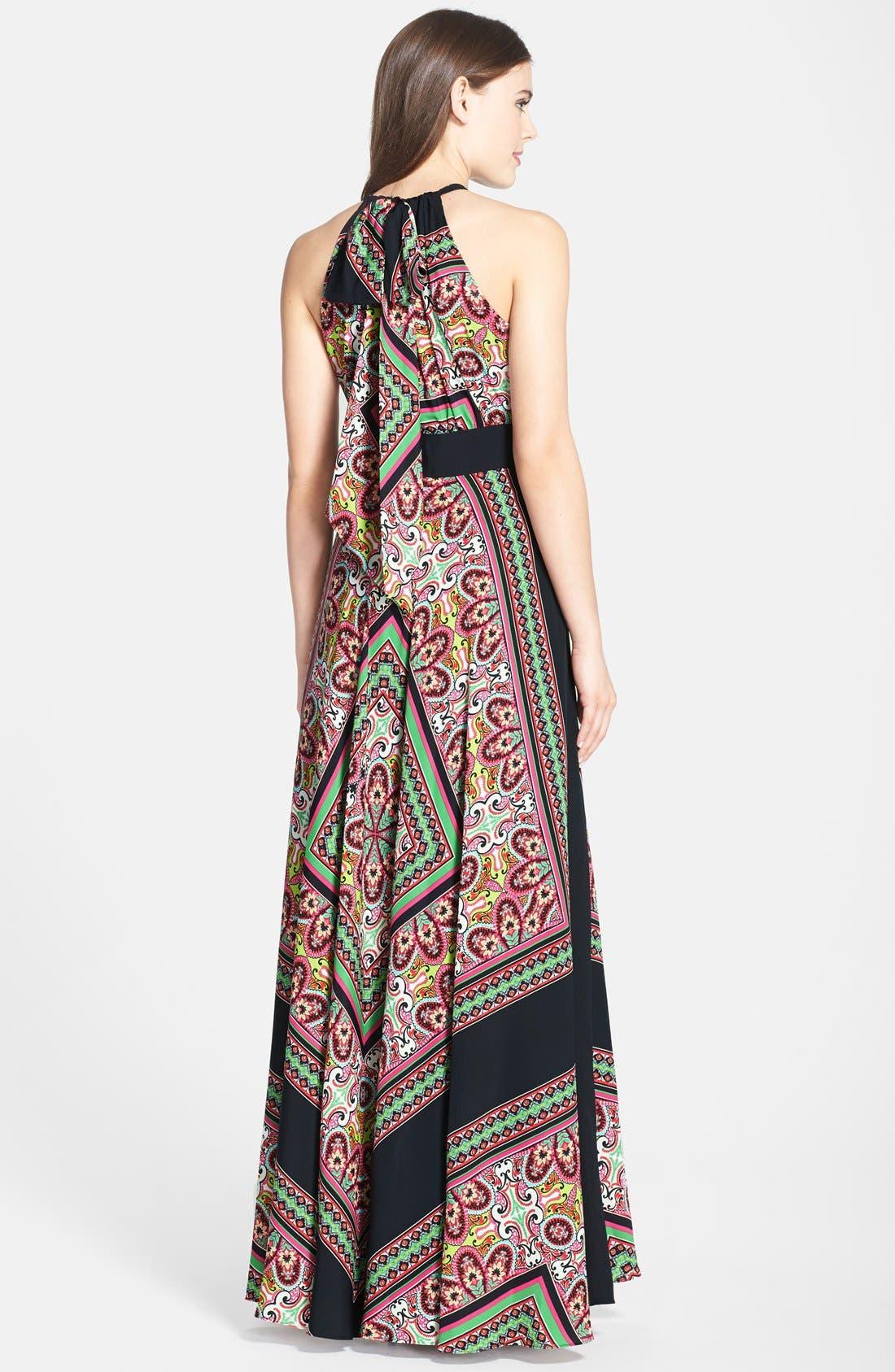 Alternate Image 2  - Eliza J Scarf Print Crêpe de Chine Maxi Dress (Regular & Petite)