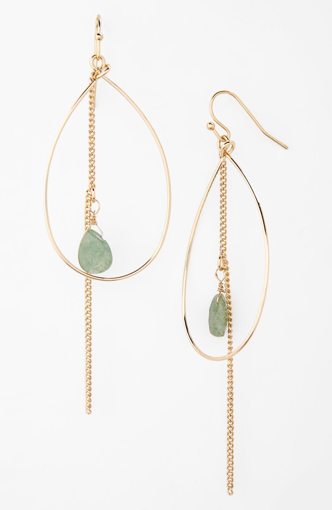 Main Image - BP. Stone & Hoop Drop Earrings