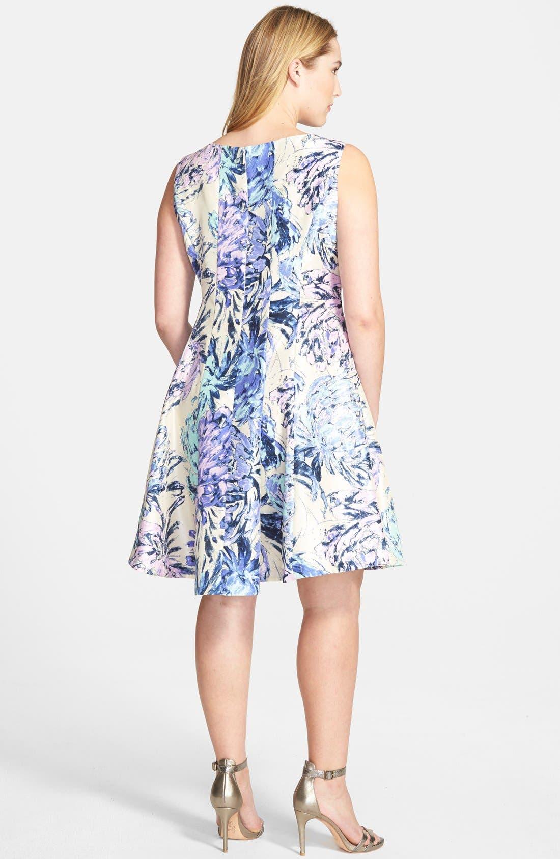 Alternate Image 2  - Taylor Dresses Floral Shantung Fit & Flare Dress (Plus Size)