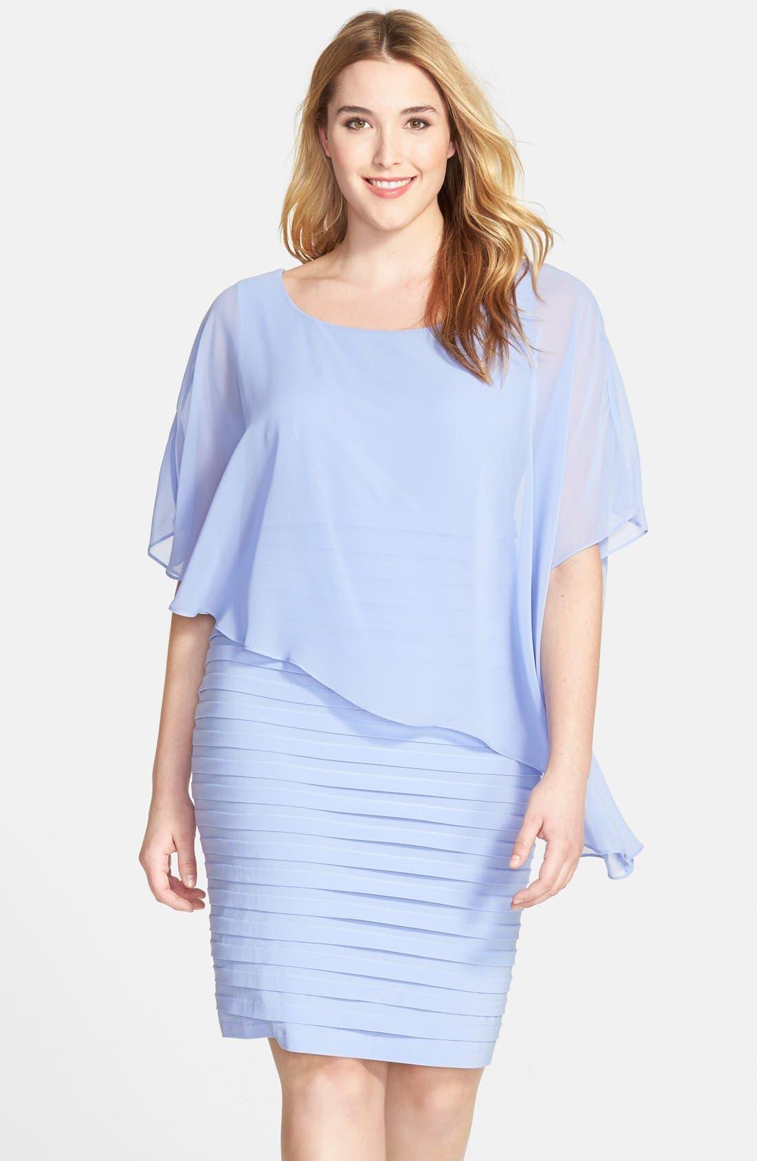 Alternate Image 1 Selected - Adrianna Papell Chiffon Overlay Shutter Pleat Sheath Dress (Plus Size)