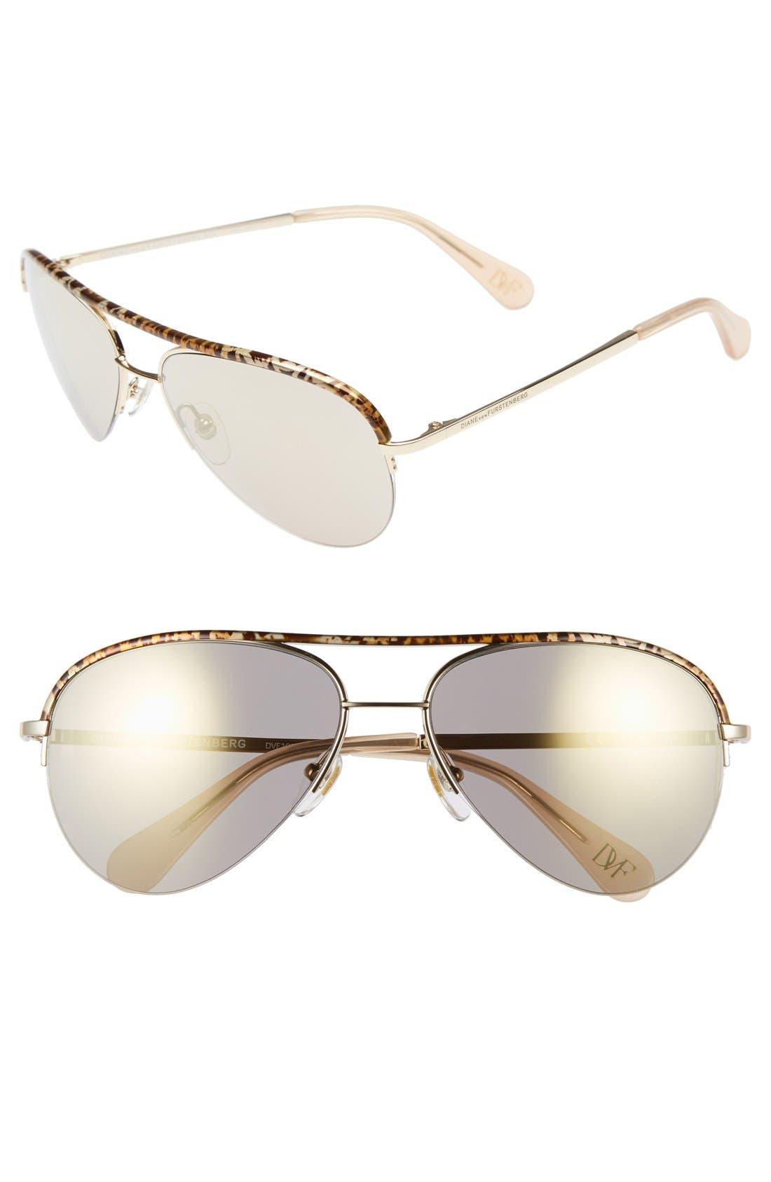 Alternate Image 1 Selected - Diane von Furstenberg 'Farrah' 58mm Aviator Sunglasses