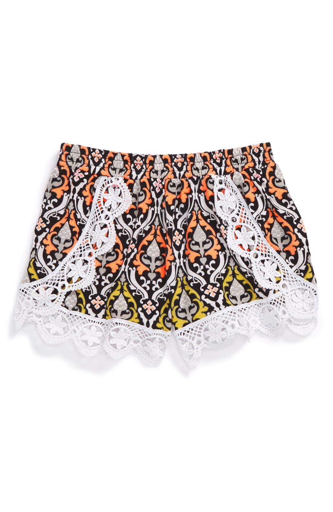 Alternate Image 1 Selected - Flowers by Zoe Crochet Trim Shorts (Toddler Girls & Little Girls)