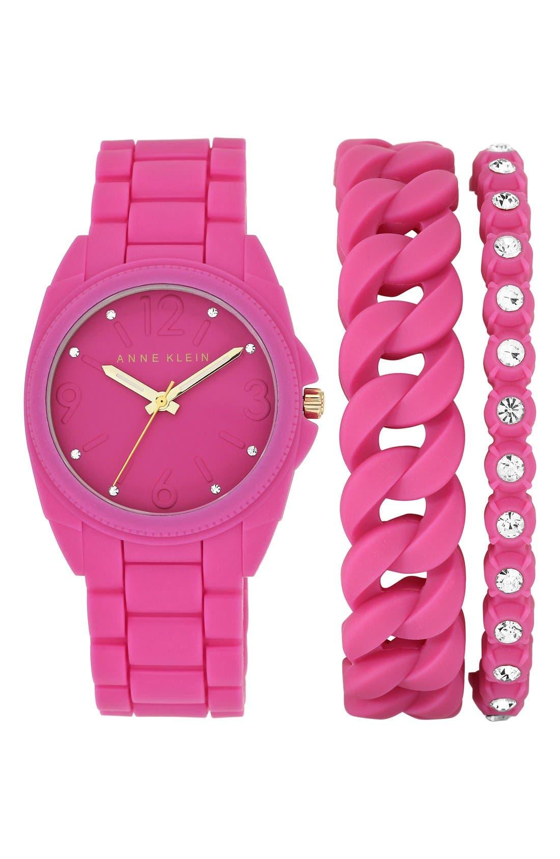 Main Image - Anne Klein Silicone Bracelet Watch Set, 36mm