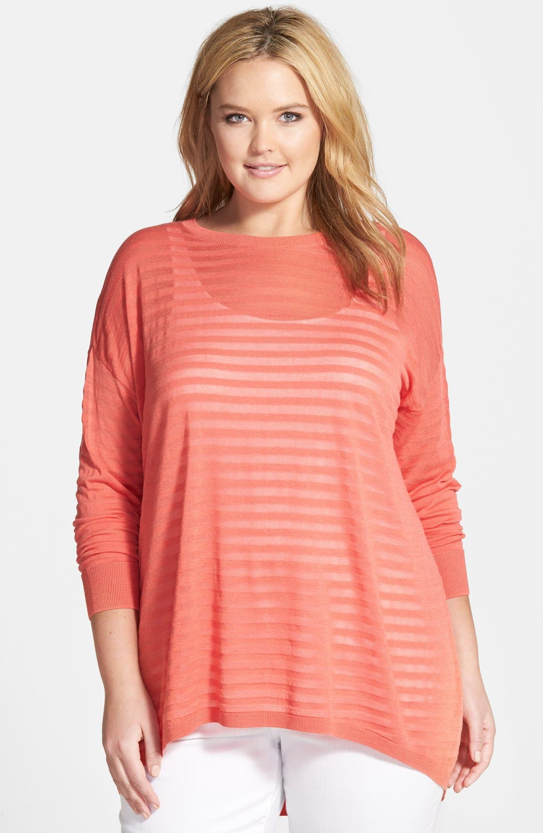 Main Image - Halogen® Sheer Stripe High/Low Pullover (Plus Size)
