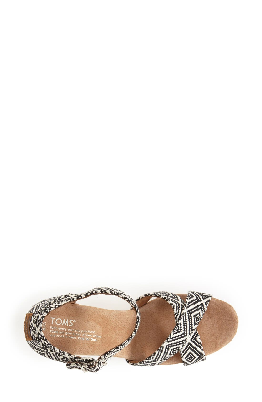 Alternate Image 4  - TOMS Canvas Woven Geometric Print Wedge Sandal (Women)