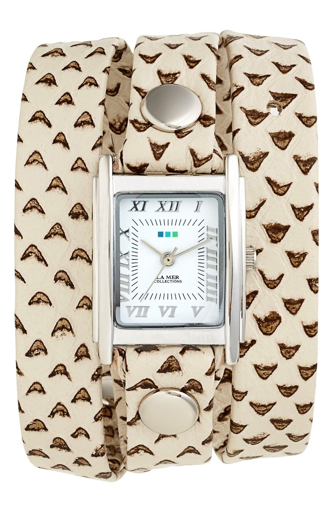 Main Image - La Mer Collections Textured Leather Wrap Watch, 22mm