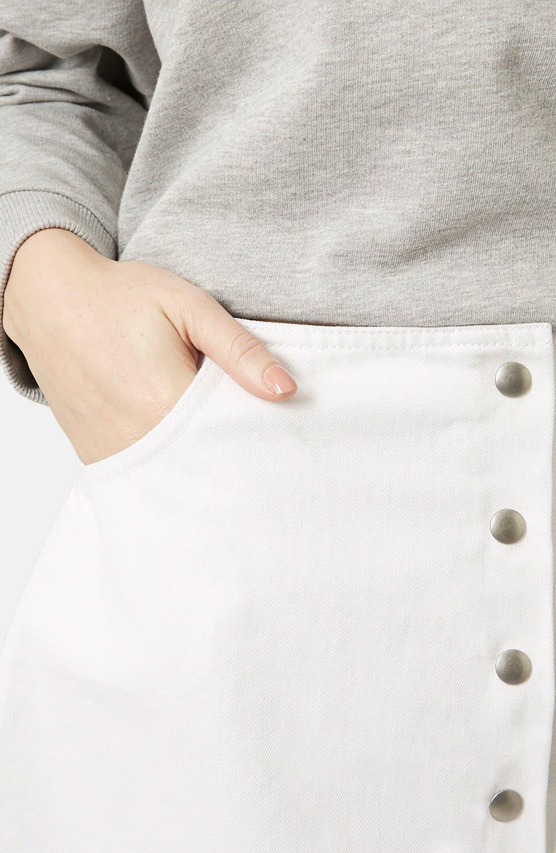Alternate Image 4  - Topshop 'Popper' Denim Miniskirt (Brit Pop-In)