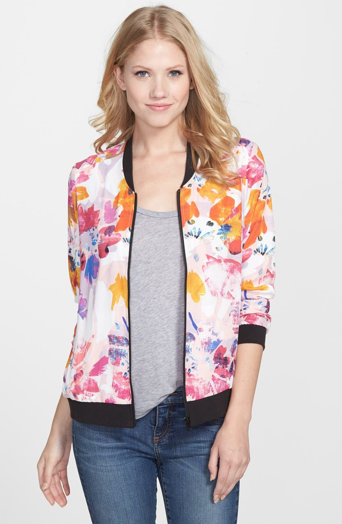 Alternate Image 1 Selected - NYDJ Floral Print Bomber Jacket