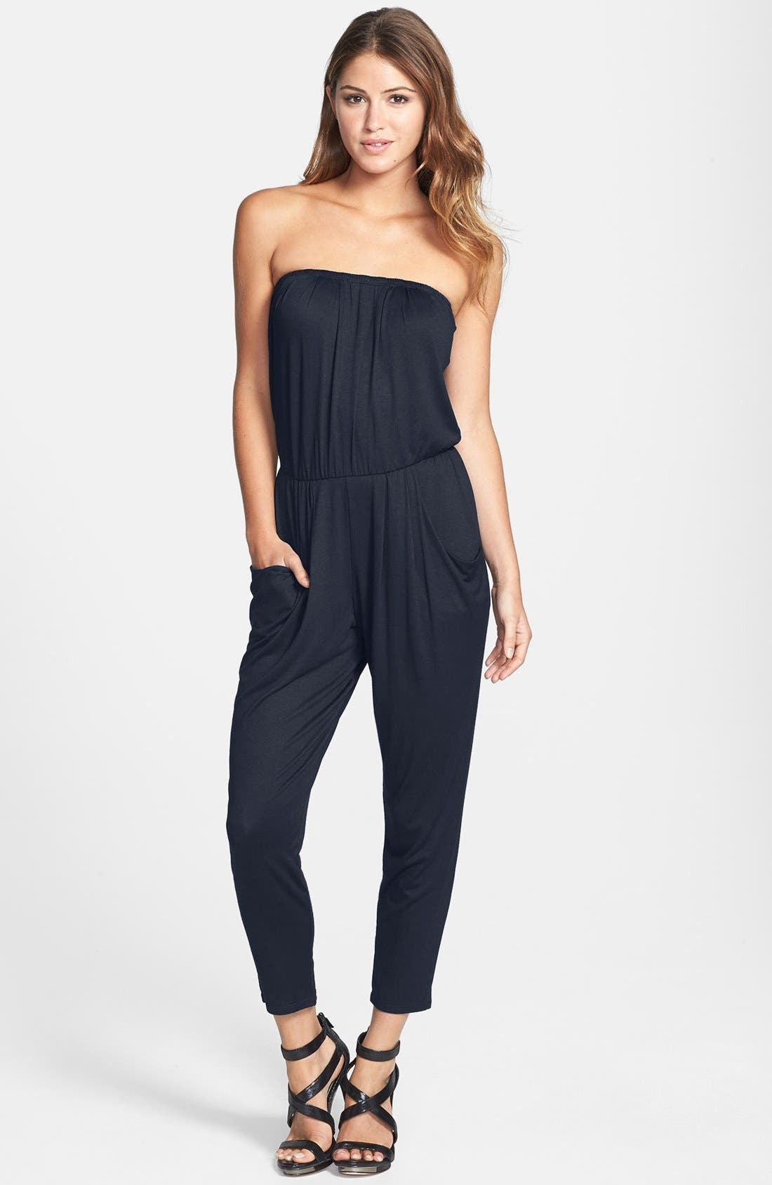 Alternate Image 1 Selected - Loveappella Pleated Strapless Jumpsuit